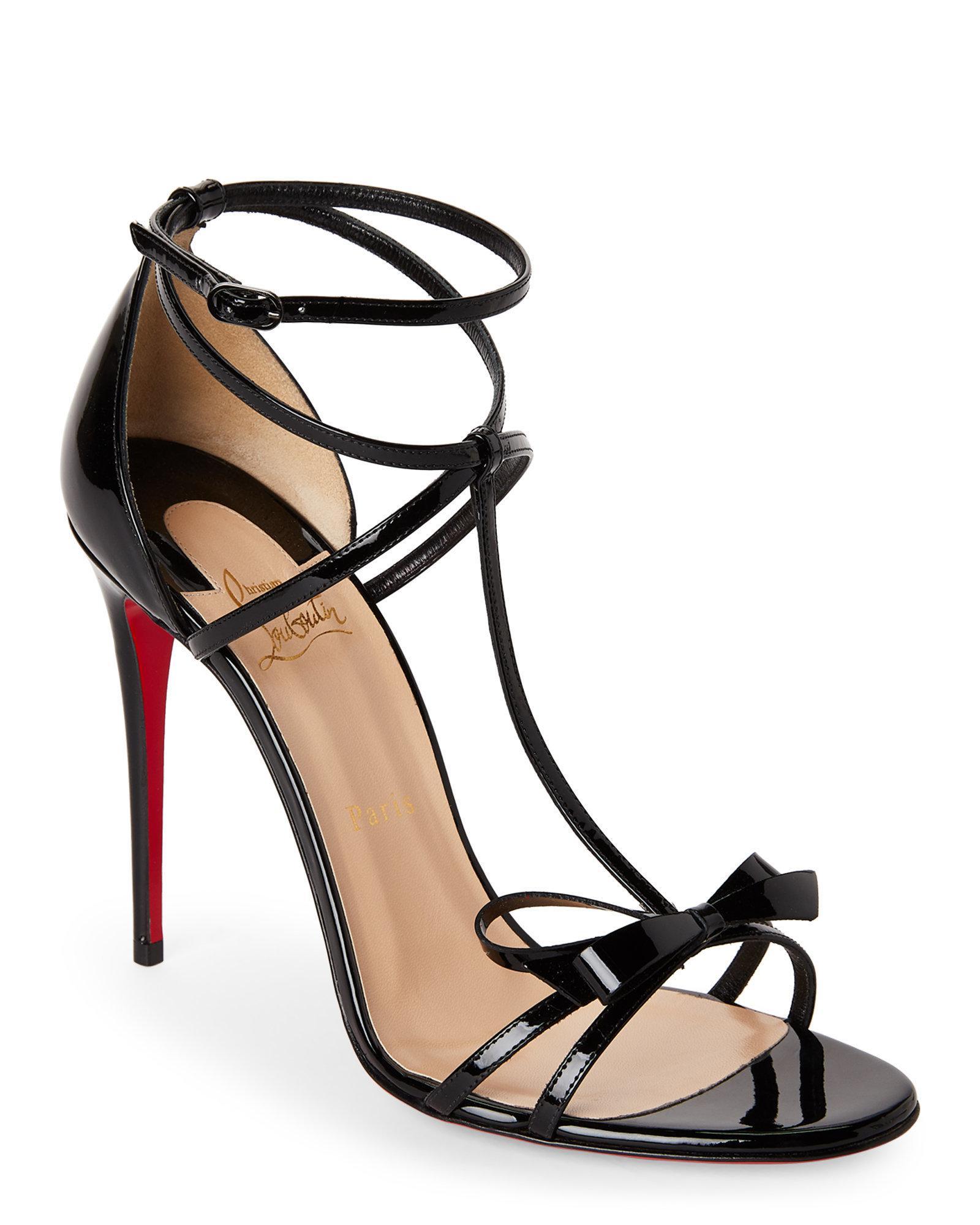 huge discount 58105 e403e Christian Louboutin Black Blakissima Strappy Bow Sandals