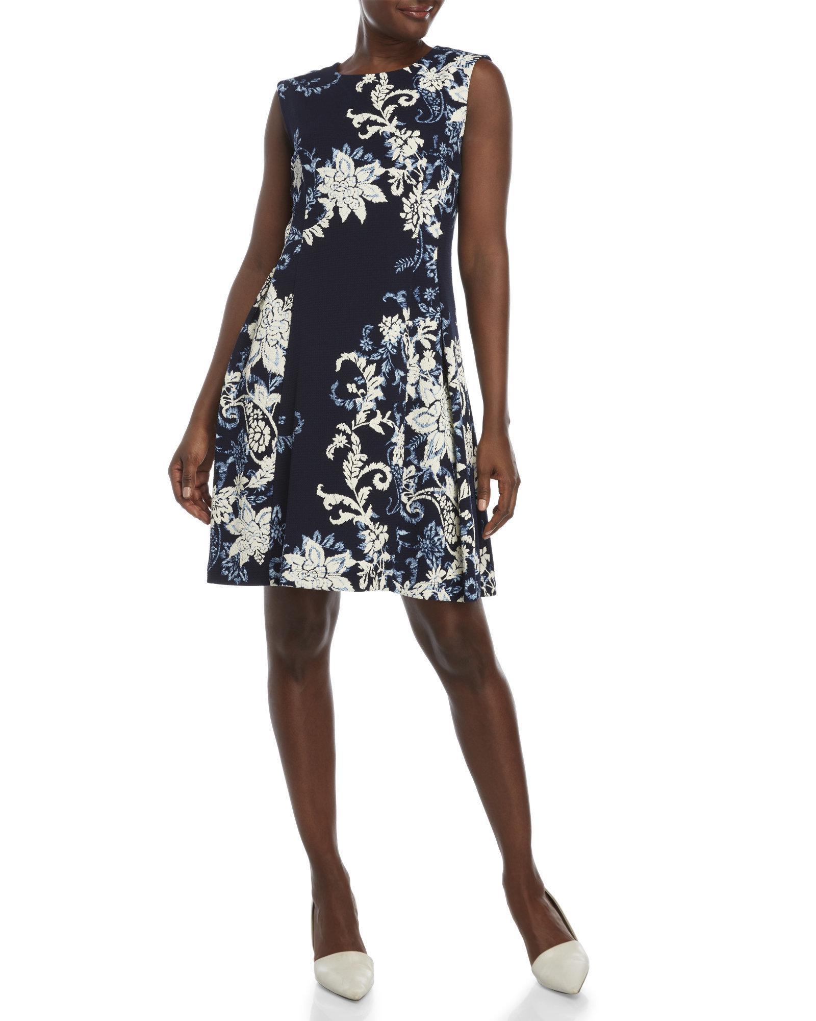 0644731084 Lyst - Sandra Darren Printed Fit   Flare Dress in Blue