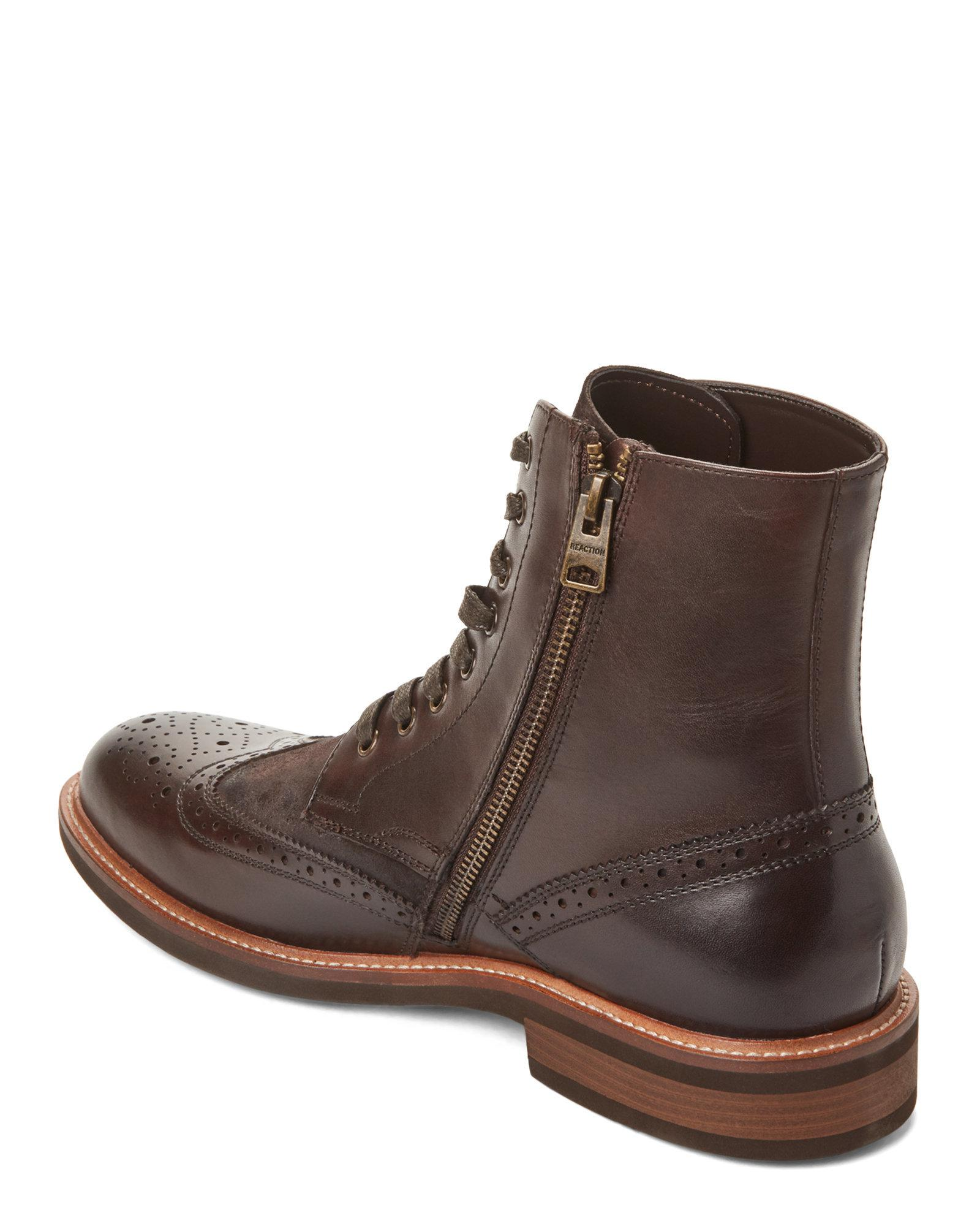 Cole Boots Kenneth Klay Brown Men Reaction Leather Wingtip For JFTK1lc
