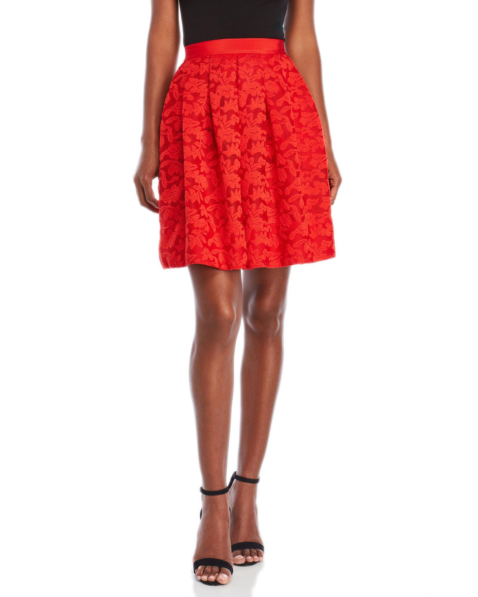 4d41cf368 Sandro Red Lace Skirt in Red - Lyst