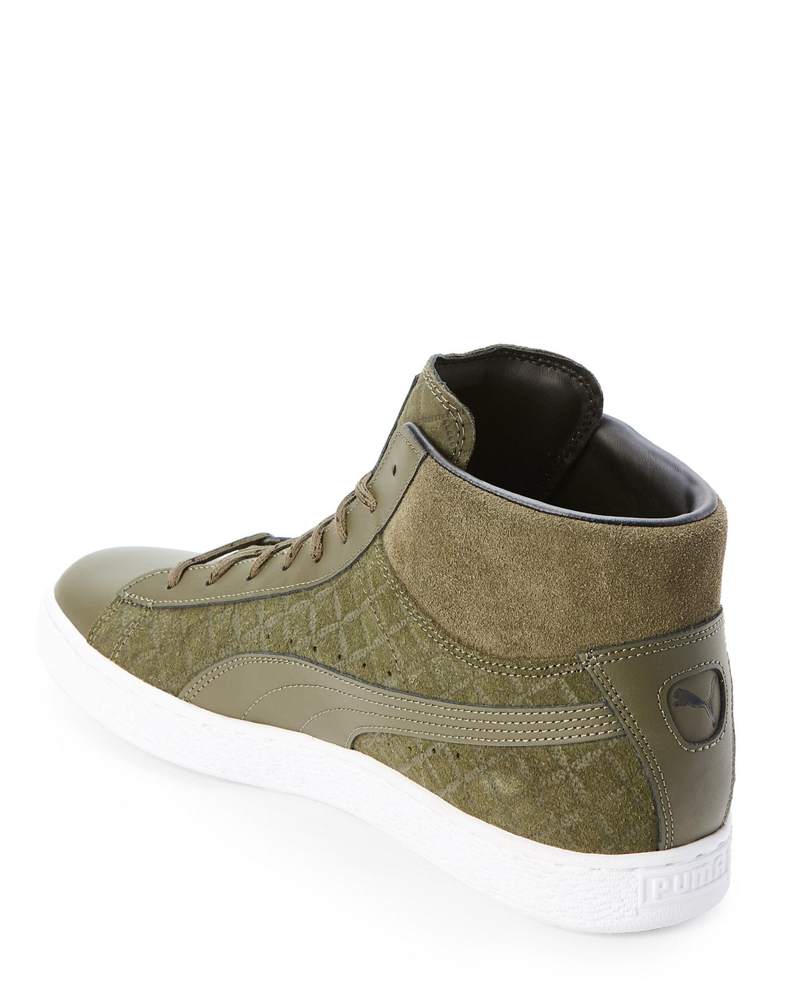 5ff4ae210f PUMA Green Olive Night Suede Classic Quilted Mid Sneakers for men