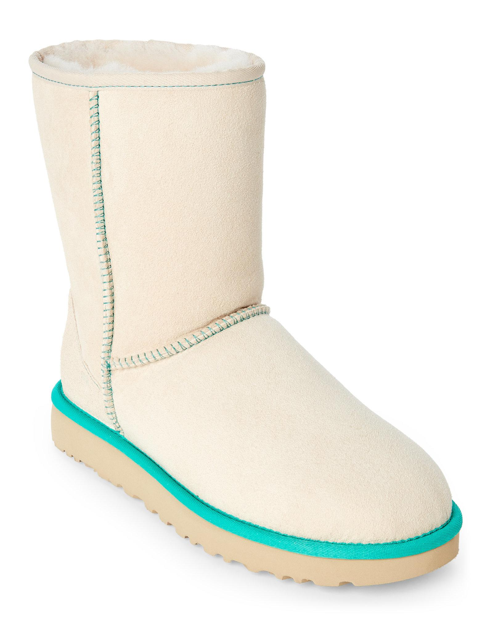 ee59d0b70c7 Ugg Natural Canvas & Turquoise Neon Ii Classic Short Shearling Boots
