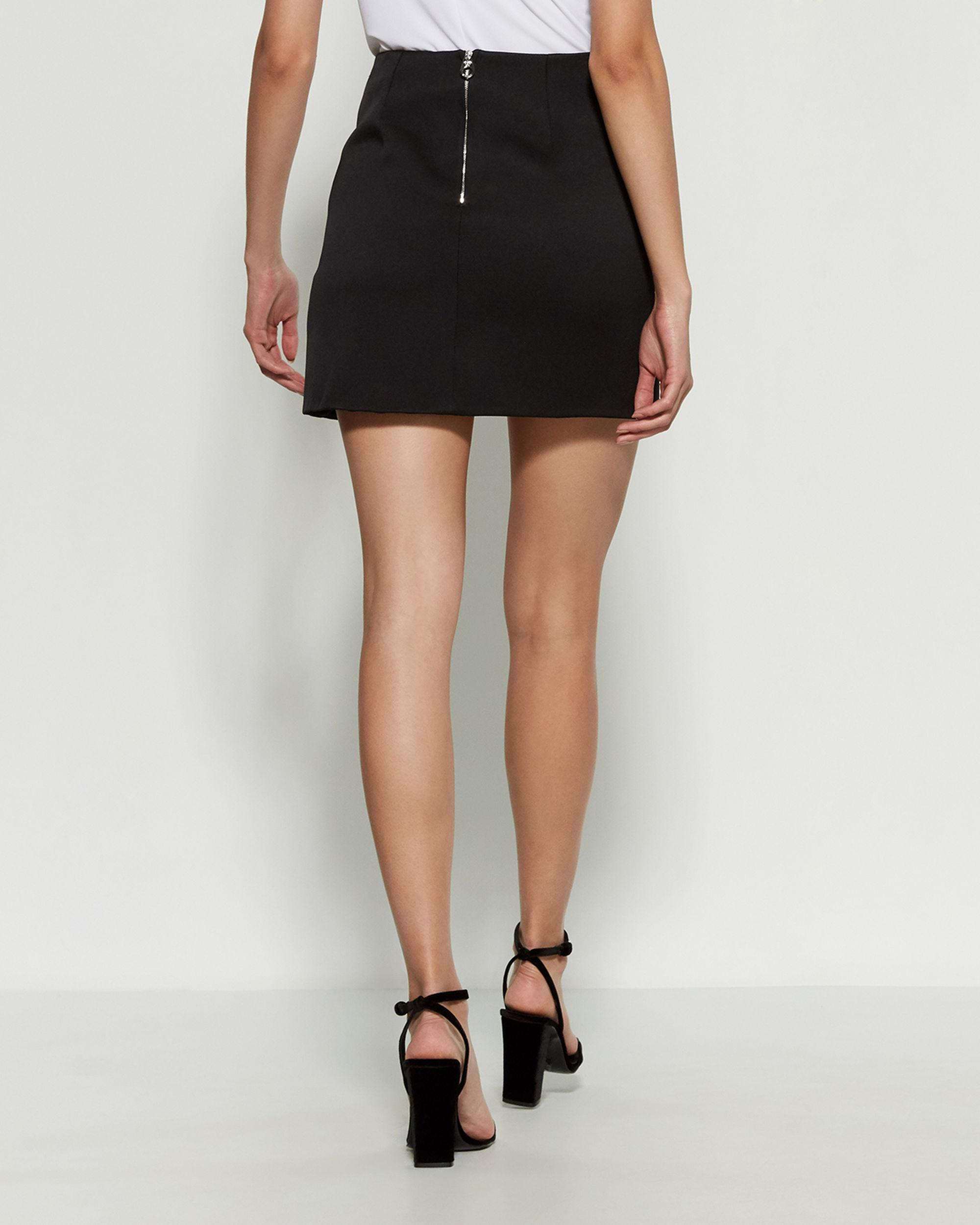80015523 Versace Black Leather Trim Mini Skirt