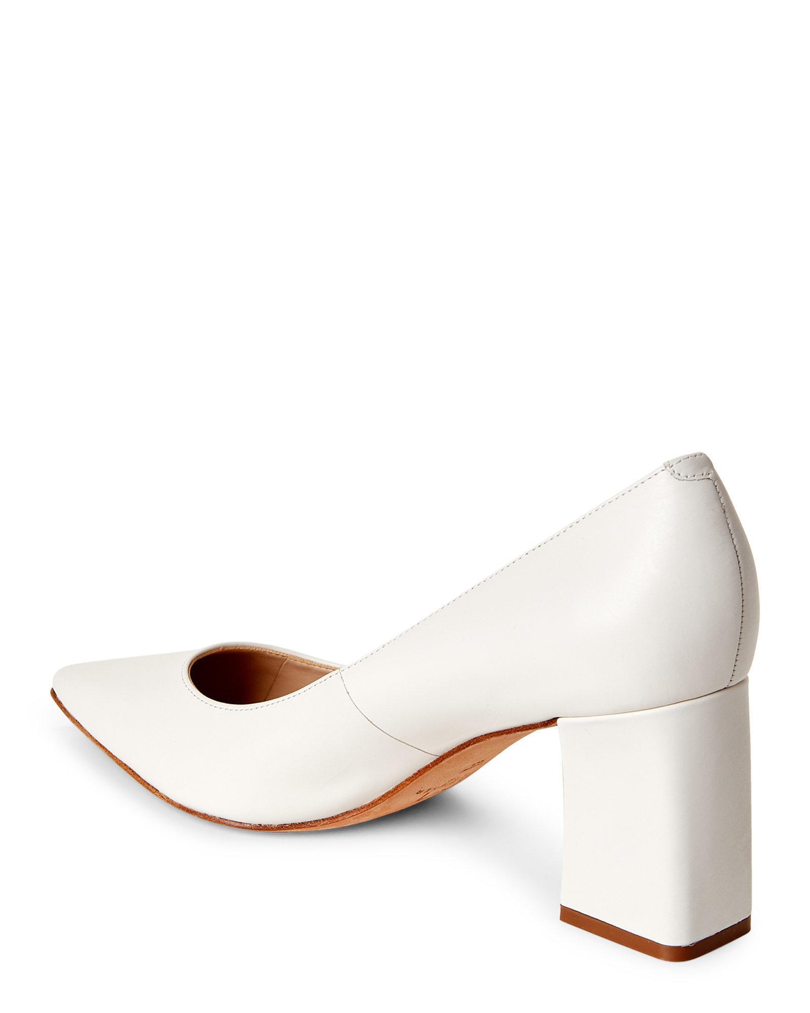 779b0fa75 Marc Fisher Cream Zala Pointed Toe Block Heel Pumps in Natural - Lyst