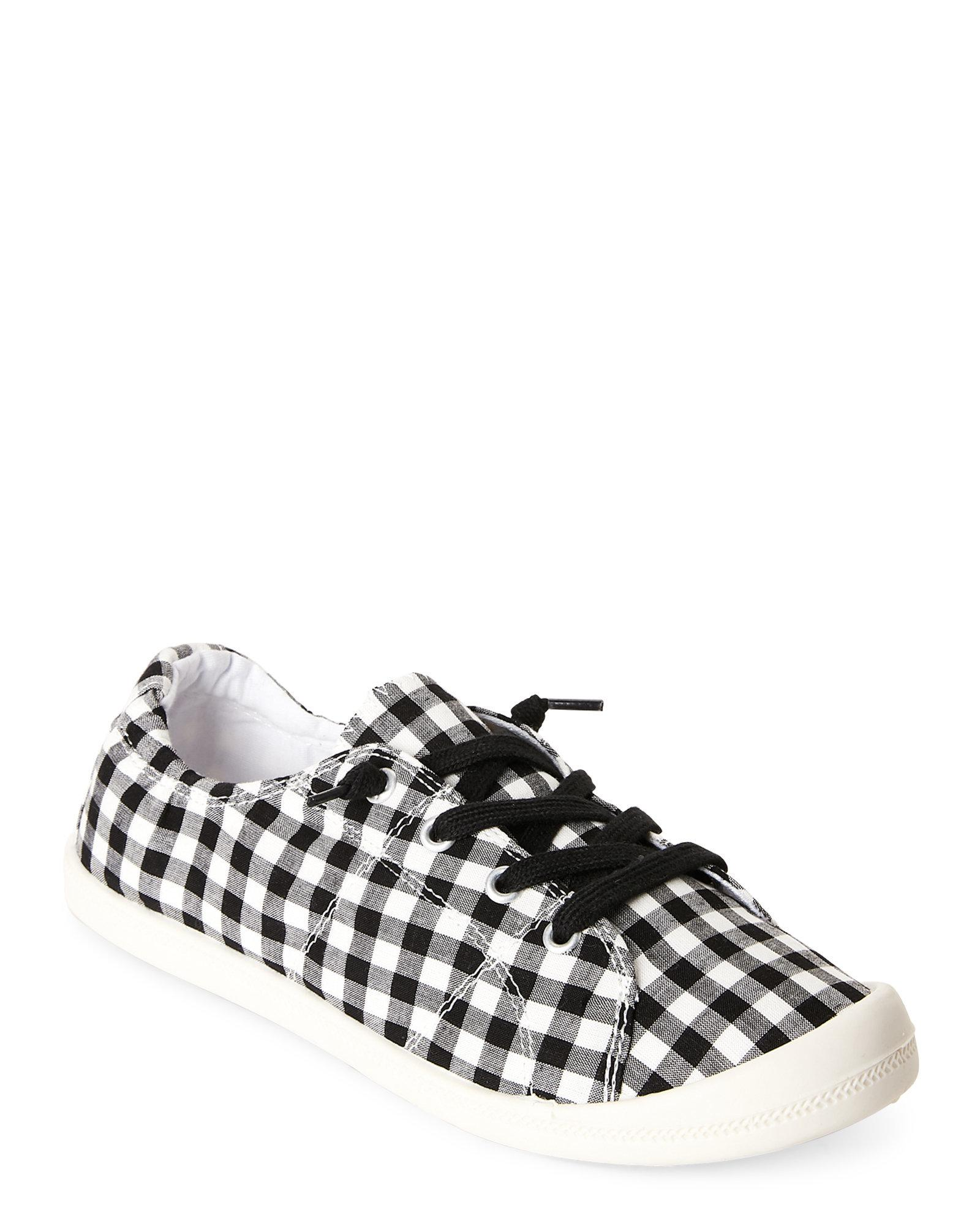 1b8a023a892 Lyst - Madden Girl Black   White Bailey Gingham Slip-on Sneakers in ...
