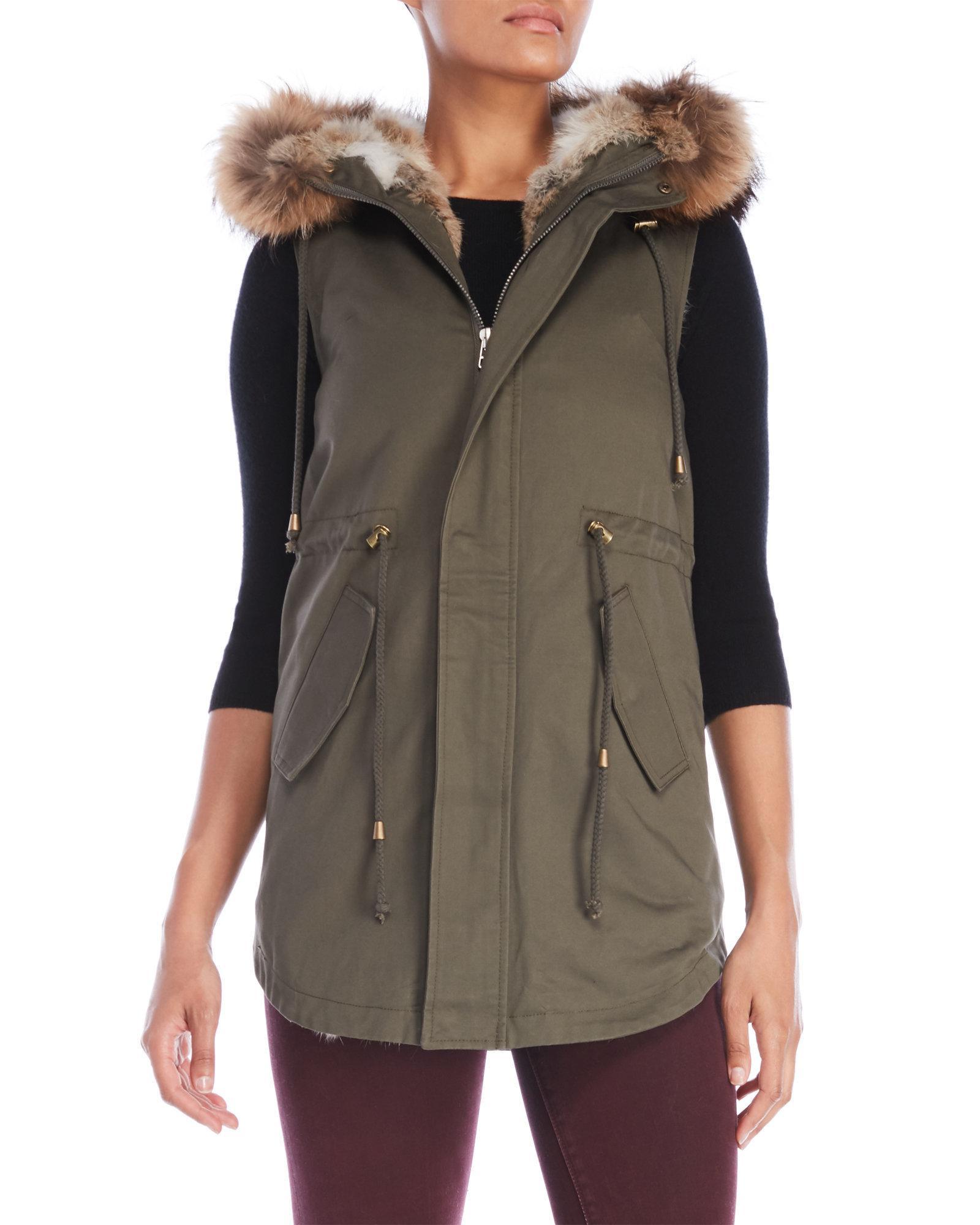 La fiorentina Real Fur-Trimmed Parka Vest in Green   Lyst