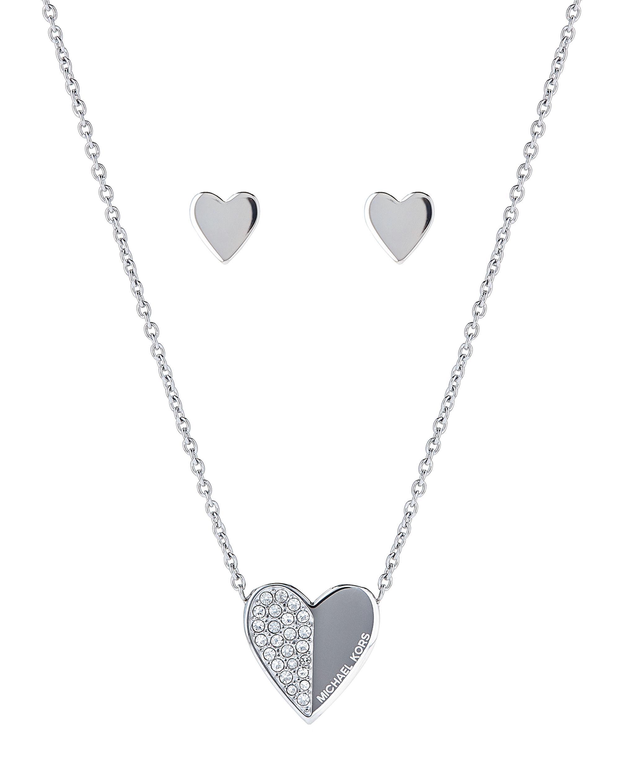 752fbcc9b Michael Kors - Metallic Silver-tone Heart Pendant Necklace & Stud Earrings  Set - Lyst. View fullscreen