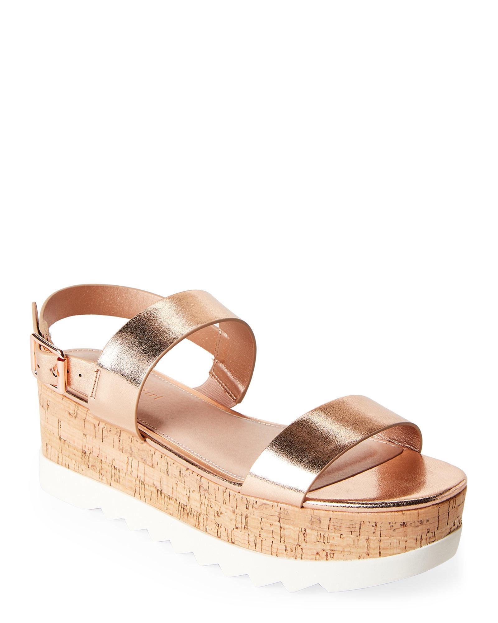 bacbcb1e31b Lyst - Madden Girl Rose Gold Suga Flatform Slingback Sandals