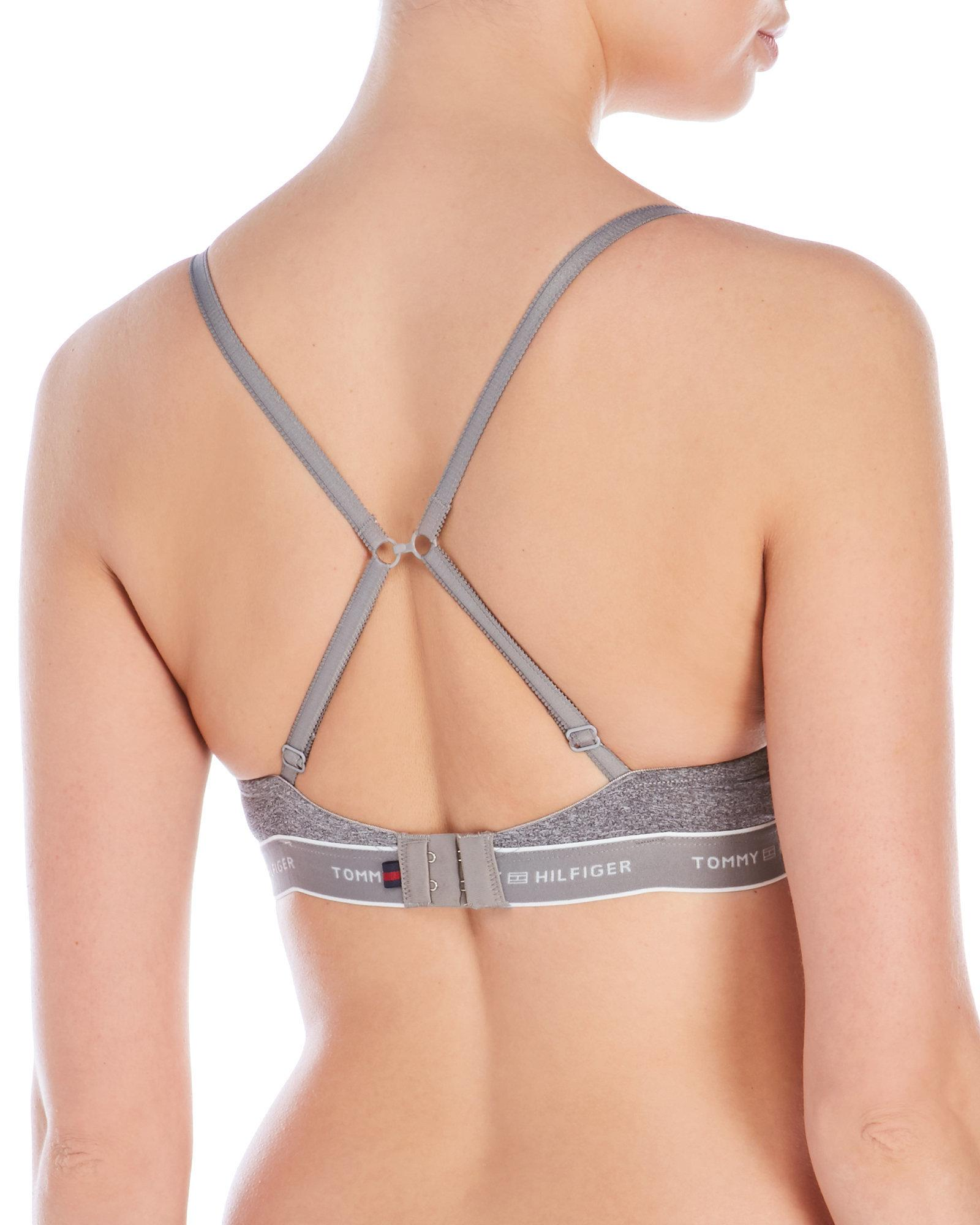 Tommy Hilfiger Gray Micro Push-Up Bra With Logo Band