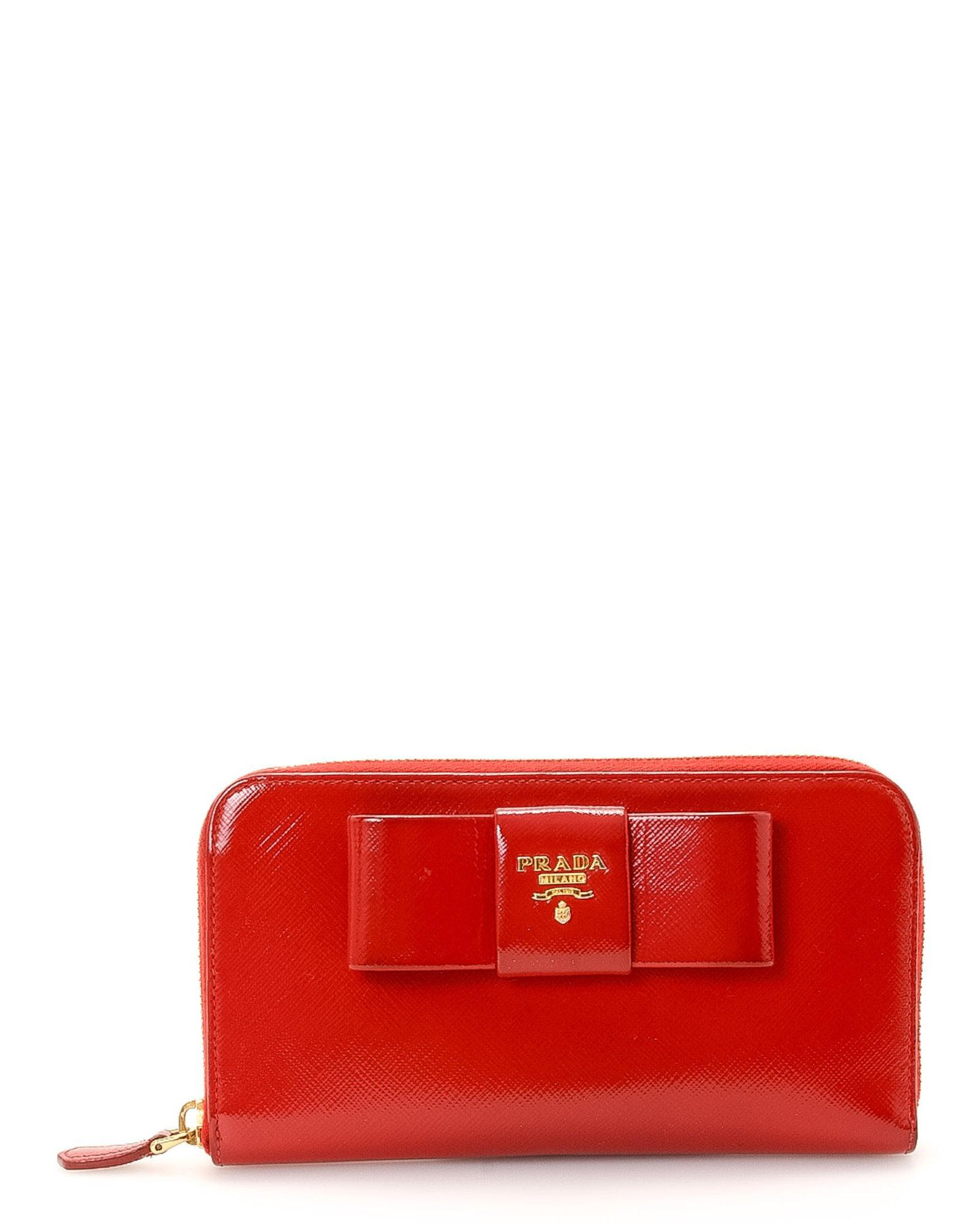 a52f11d661e10b Lyst - Prada Bow Saffiano Lux Zip Wallet - Vintage in Red