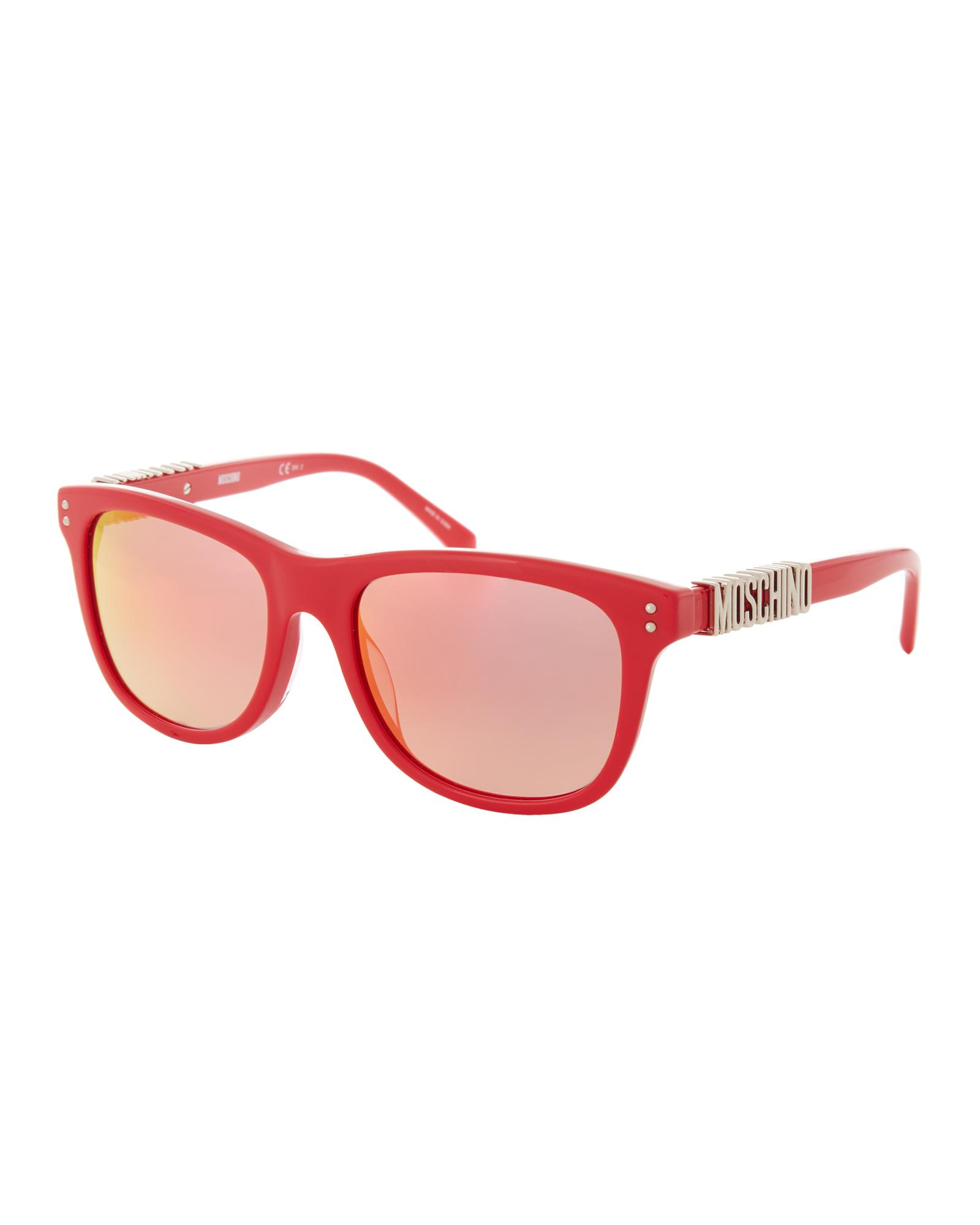 a3751b52f5 Lyst - Moschino Mos003 s Red Flash Logo Reflective Sunglasses in White