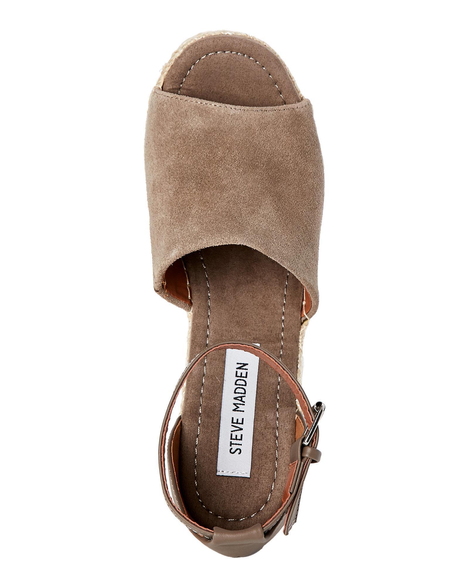 26099eab2cd Steve Madden Brown Taupe Jaylen Platform Wedge Espadrille Sandals