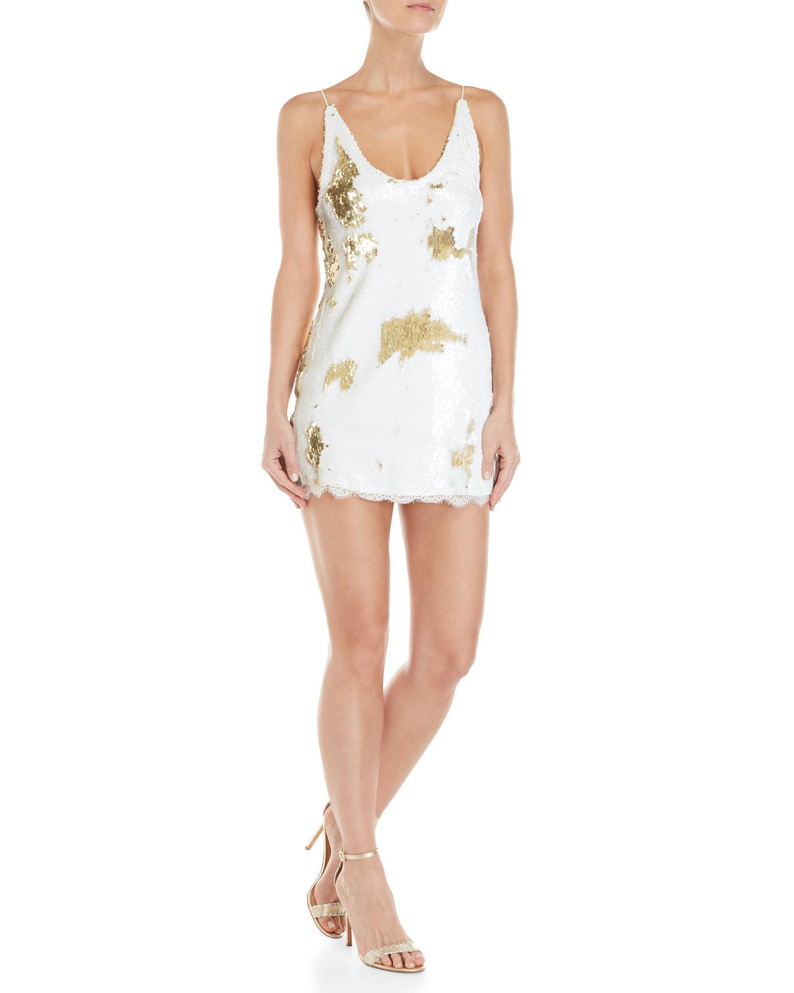 Free People Womens Seeing Double Sequin Slip Dress