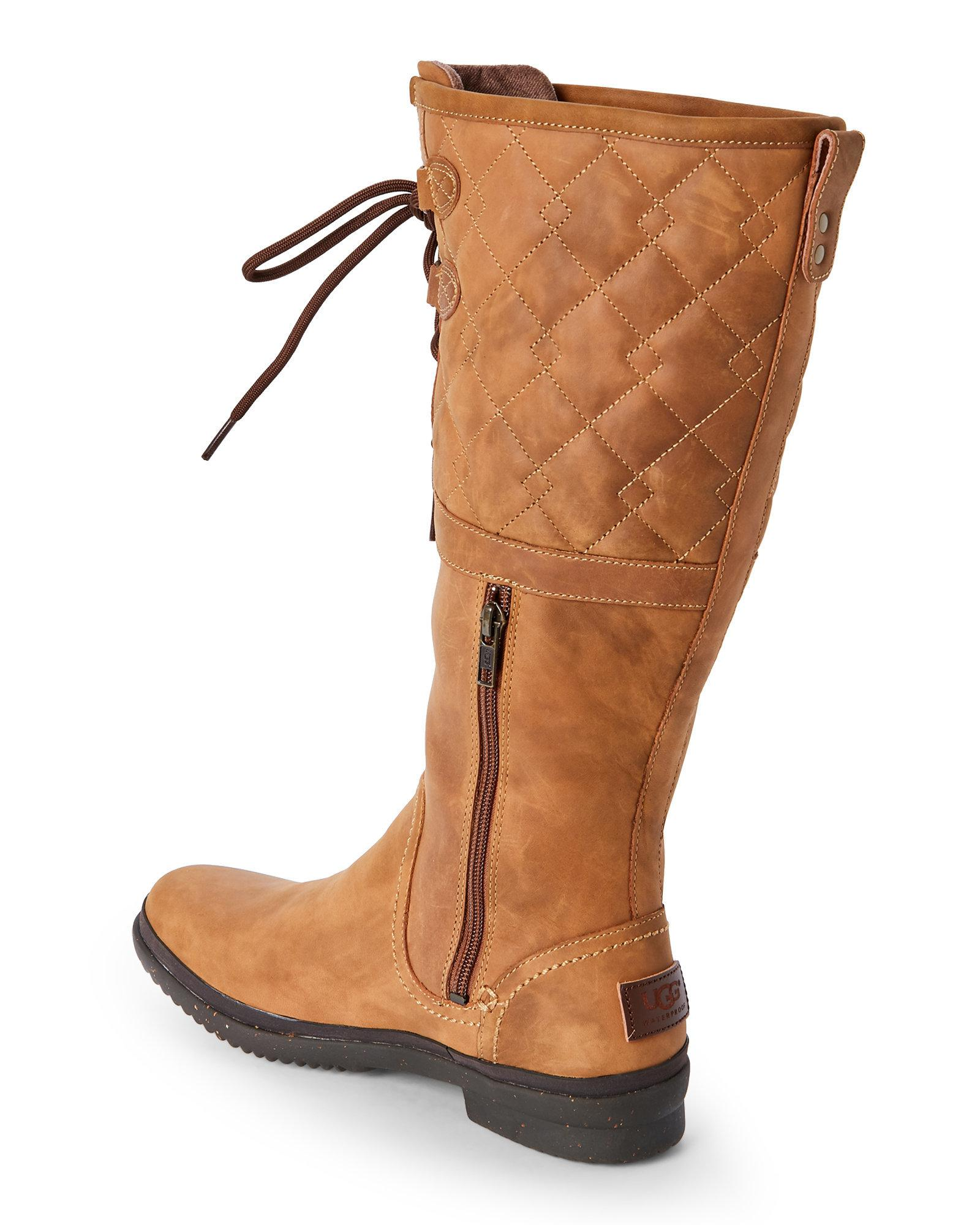 Ugg Leather Chestnut Elsa Deco Quilt Waterproof Boots In