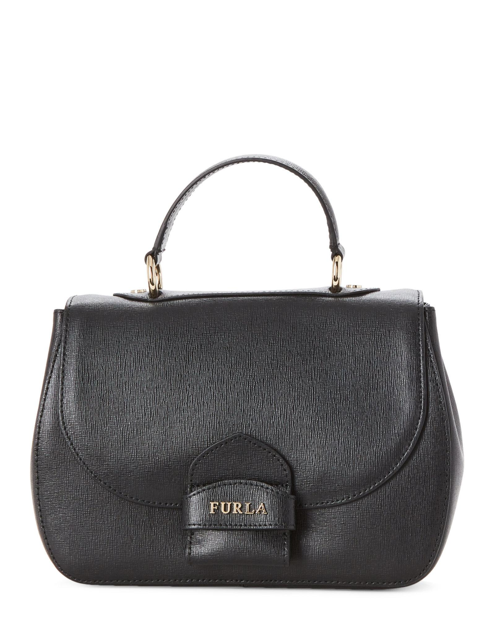 f2c2df0285 Furla Onyx Leather Coral Top Handle Bag in Black - Lyst