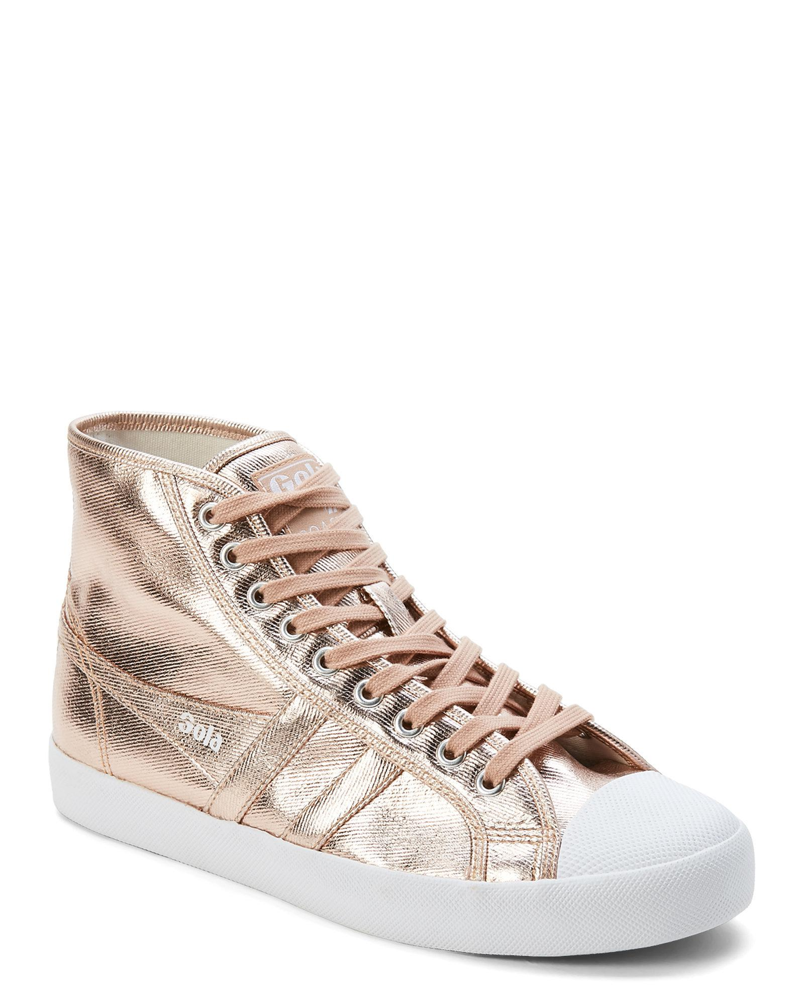 05c20adee03d Lyst - Gola Rose Gold Coaster Metallic High-top Sneakers in Metallic