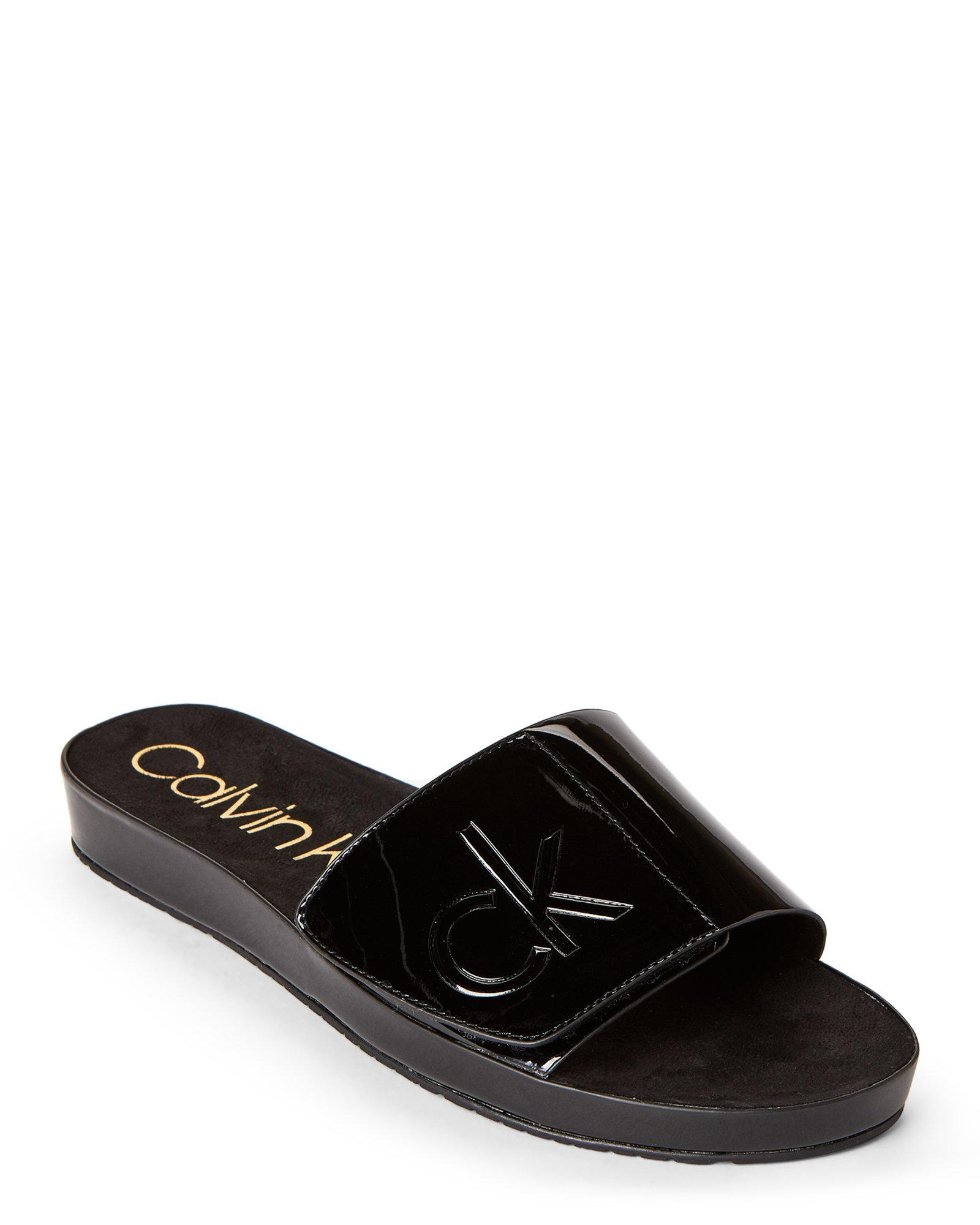 d68073b1ef5d4 CALVIN KLEIN 205W39NYC Black Marlina Flat Slide Sandals