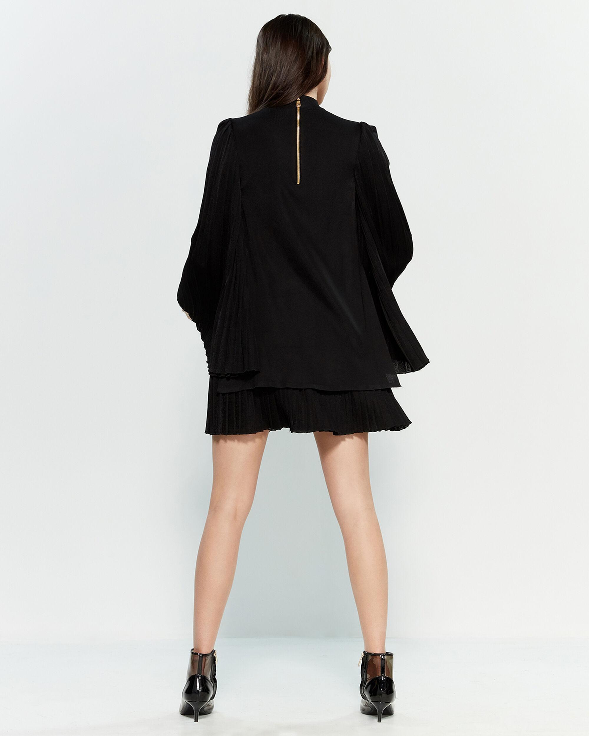 d14e6baf Balmain Black Pleated Knit Mini Dress in Black - Lyst