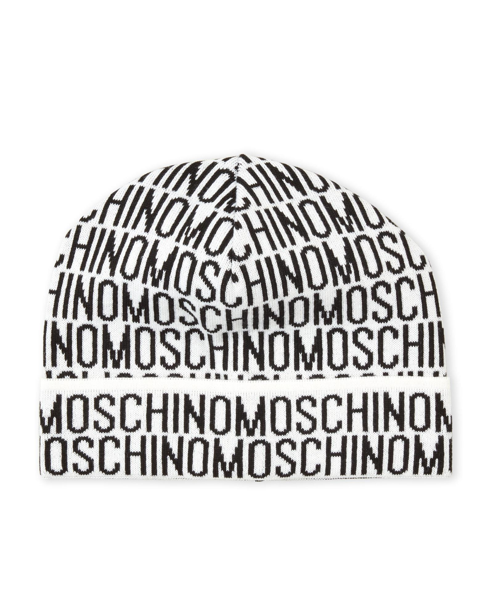 Lyst - Moschino Allover Logo Knit Hat in Gray for Men 3fbce293046