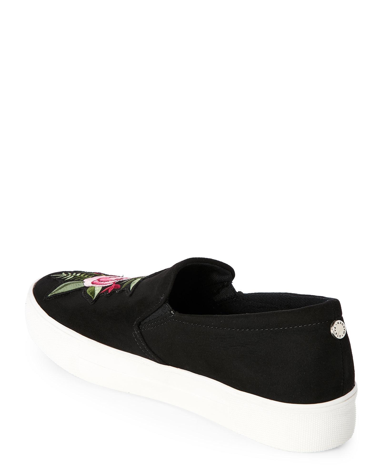 2d0bb076eed Lyst - Steve Madden Black Garcie Embroidered Platform Sneakers in Black