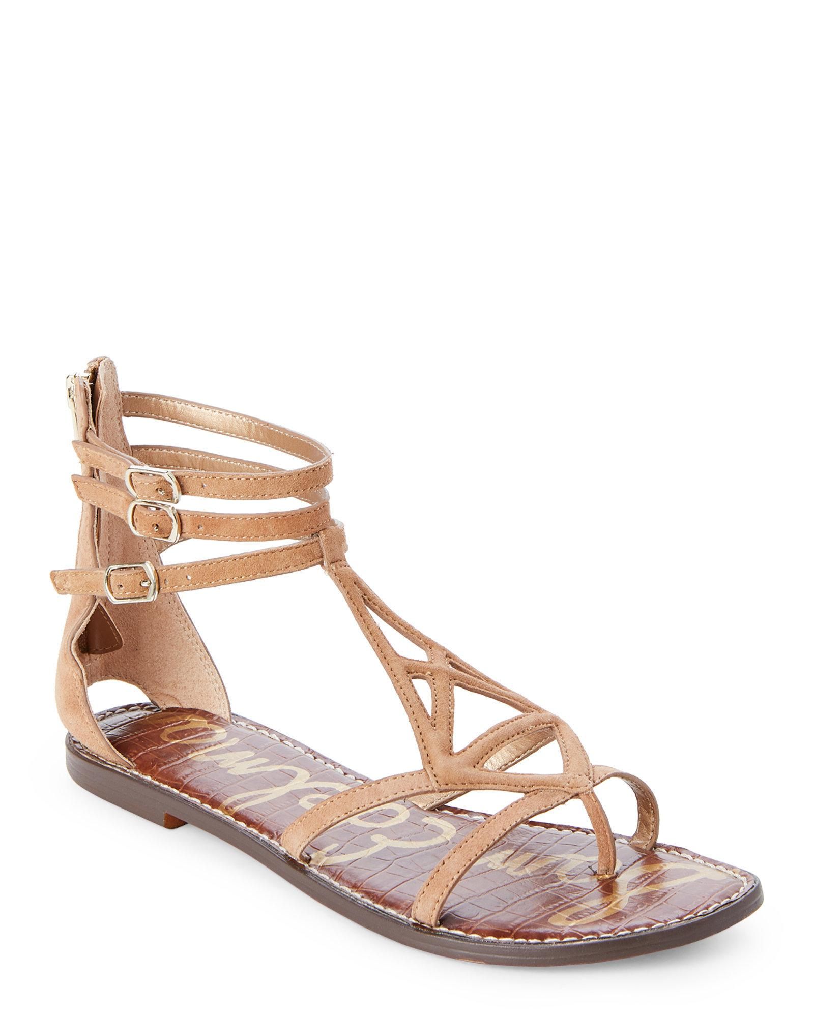 d5b8df7d7 Lyst - Sam Edelman Gold Caramel Goldie Flat Gladiator Sandals