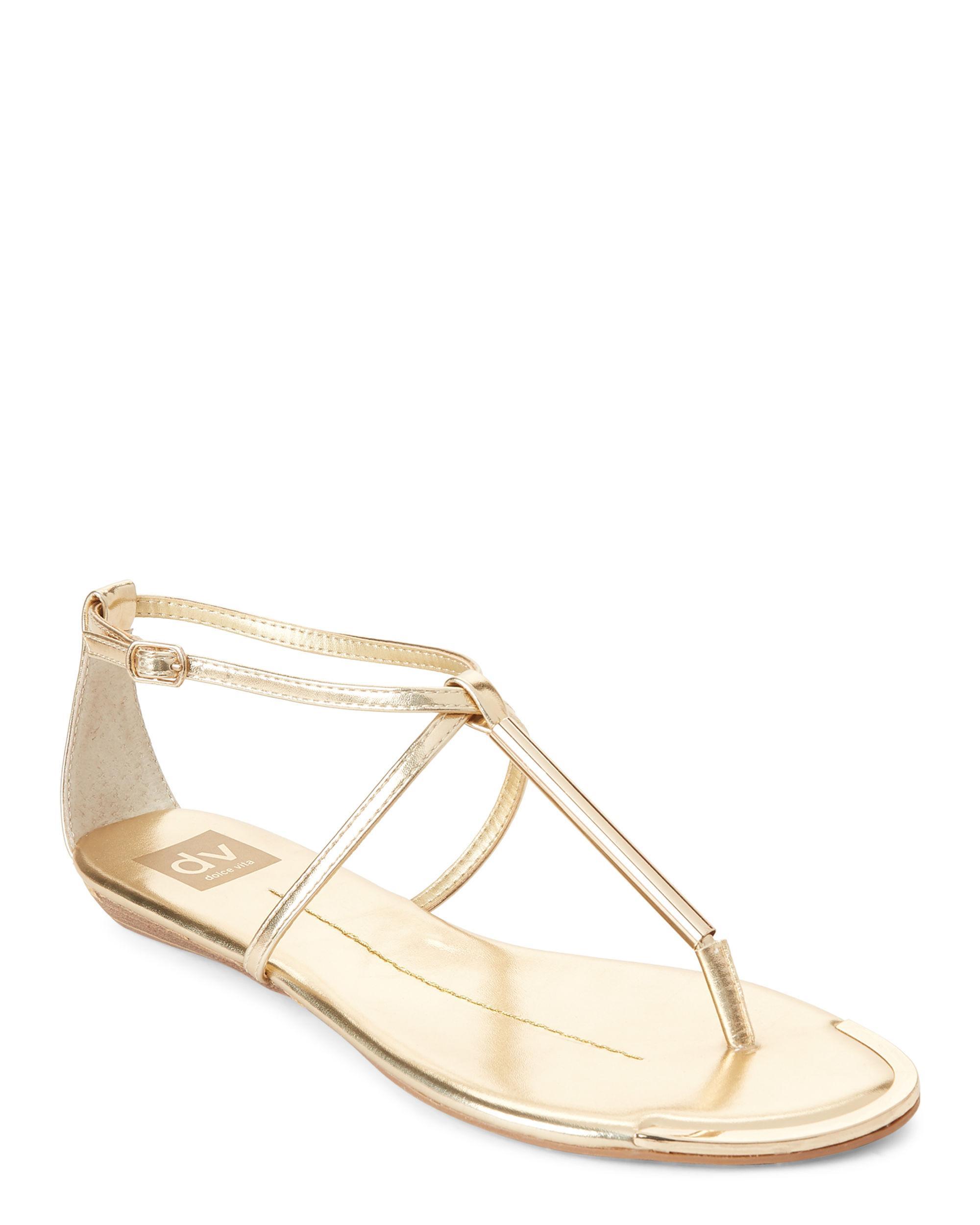 182ba8923 Lyst - DV by Dolce Vita Gold Metallic Archer Flat Sandals in Metallic