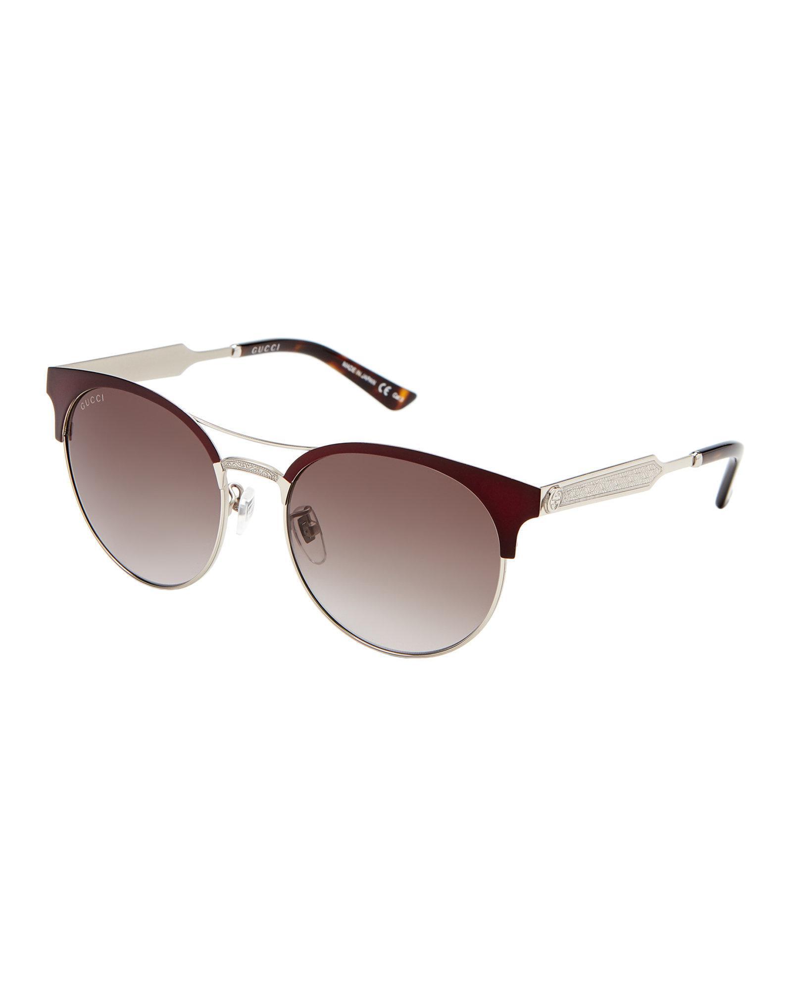 ccf7d9fda2409 Gucci Gg 0075 s Burgundy Round Sunglasses in Brown - Lyst