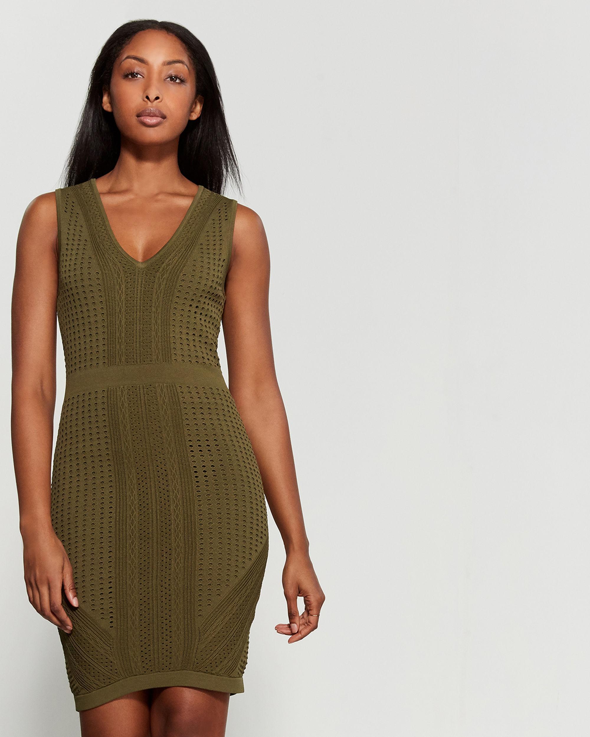 17f3cea833e50 Lyst - John + Jenn Pointelle Knit Bodycon Dress in Green