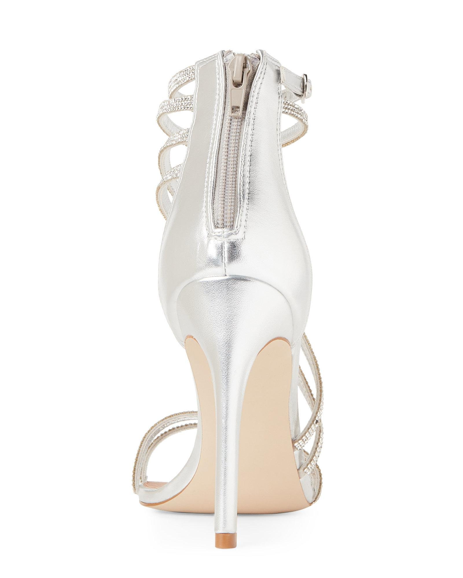 ce57c31d7d2 Steve Madden Metallic Pewter Fiffi Embellished Strappy Sandals