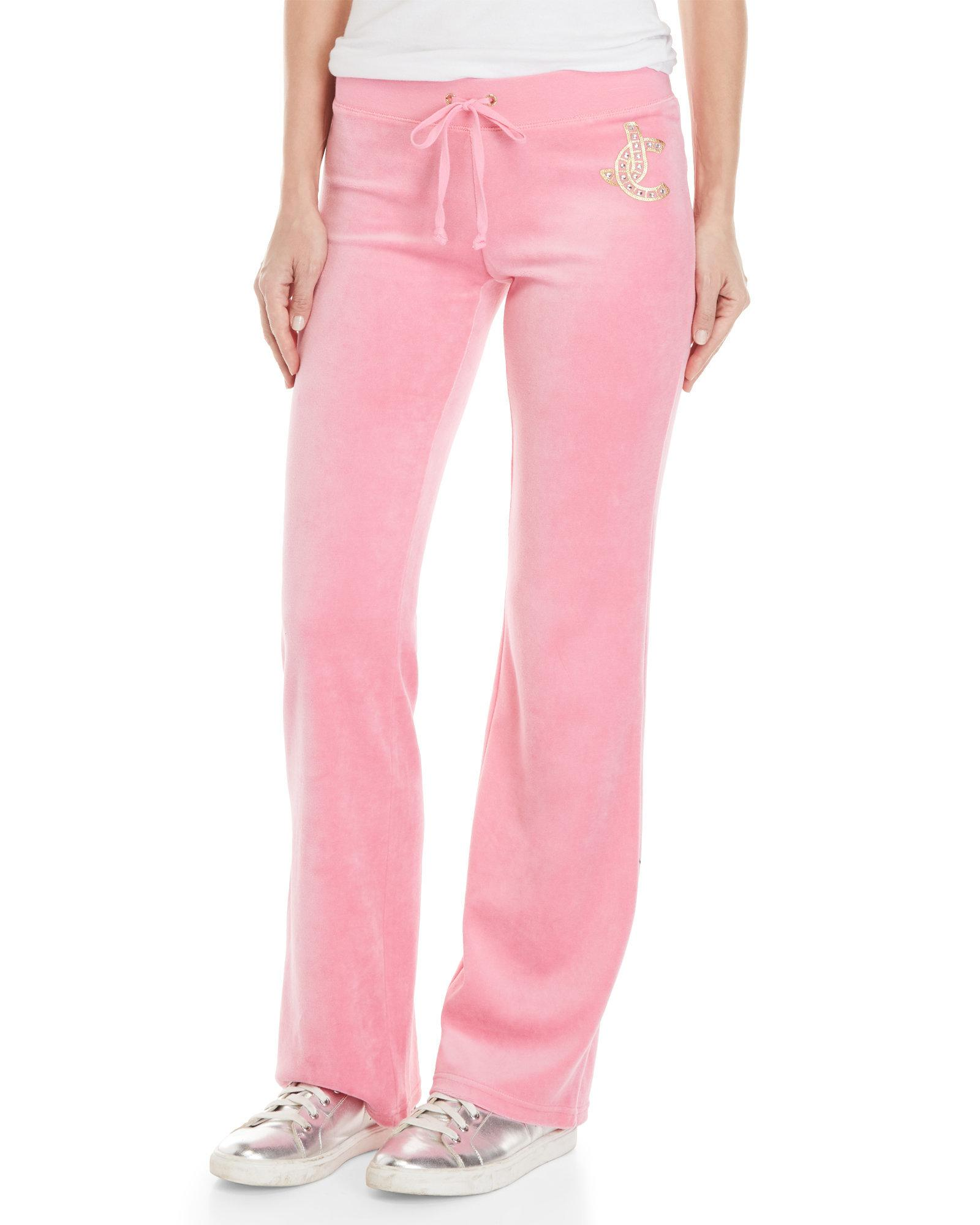 Juicy Couture Cotton Del Rey Velour Pants In Pink Lyst