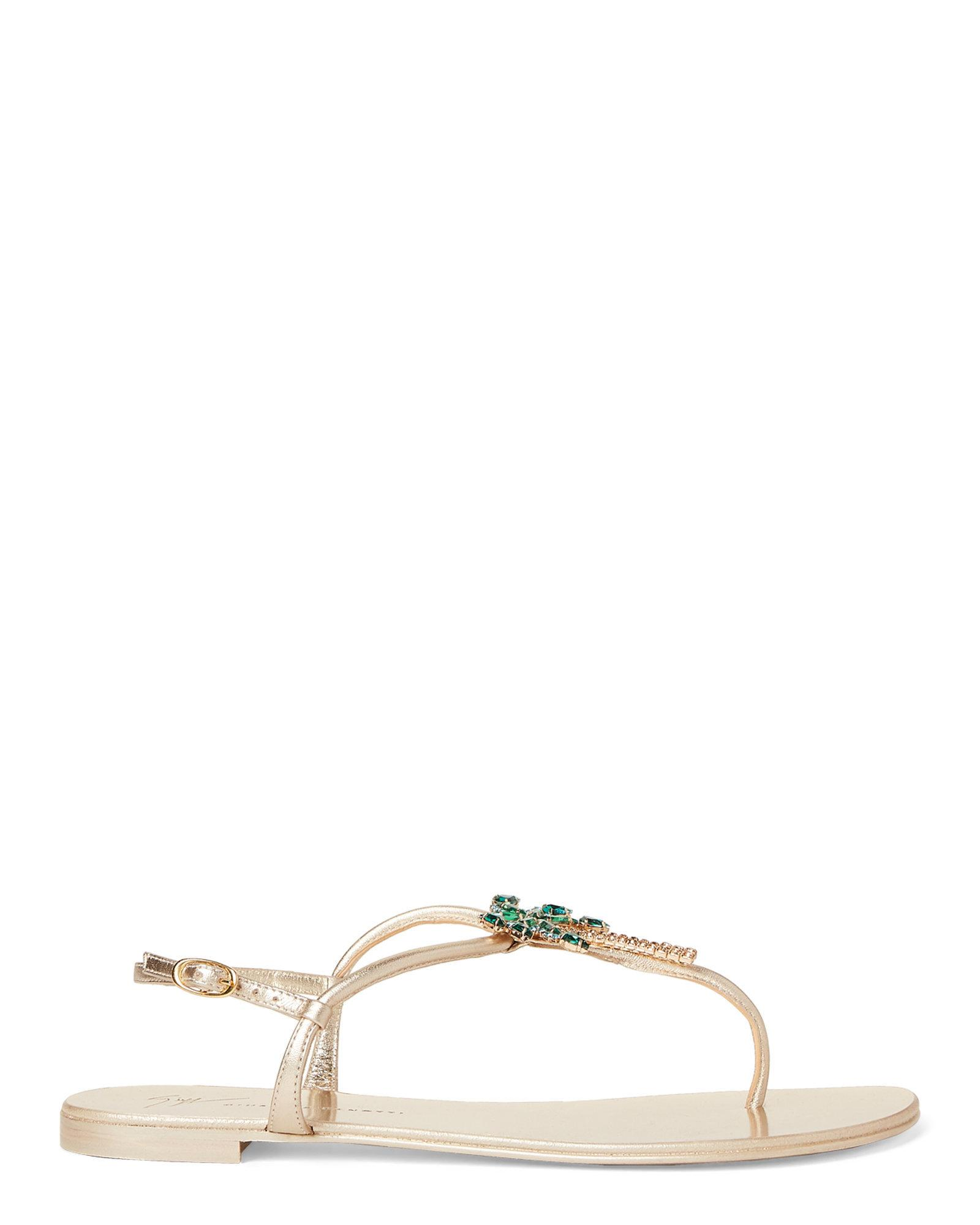 7263c393534c0 Lyst - Giuseppe Zanotti Gold Embellished Palm Tree Flat Sandals in Metallic