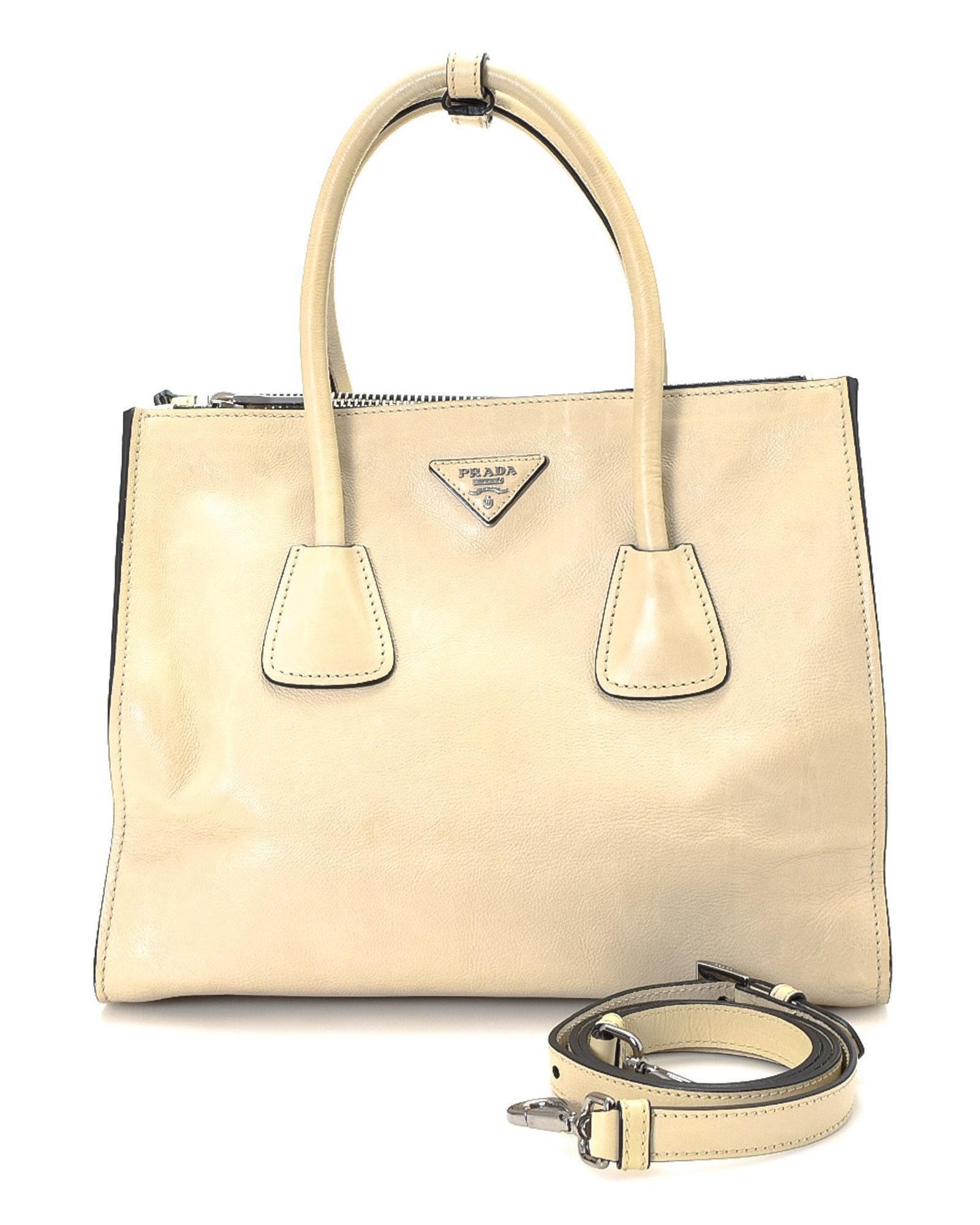 b115f7337fb8 Prada Two-way Leather Handbag - Vintage in Natural - Lyst
