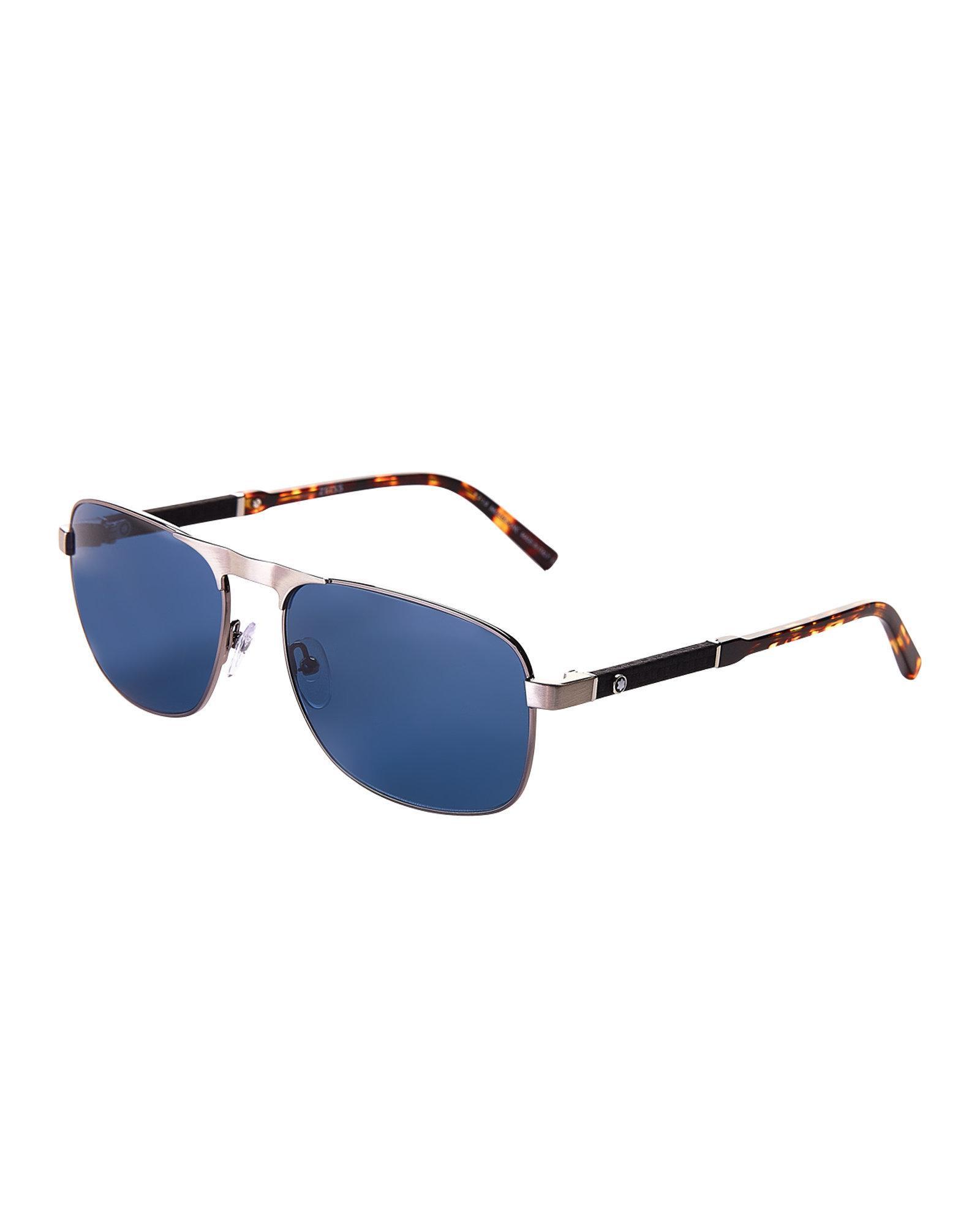 5336b1b4d9 Lyst - Montblanc Mb 655s Tortoiseshell-look Navigator Sunglasses in Blue