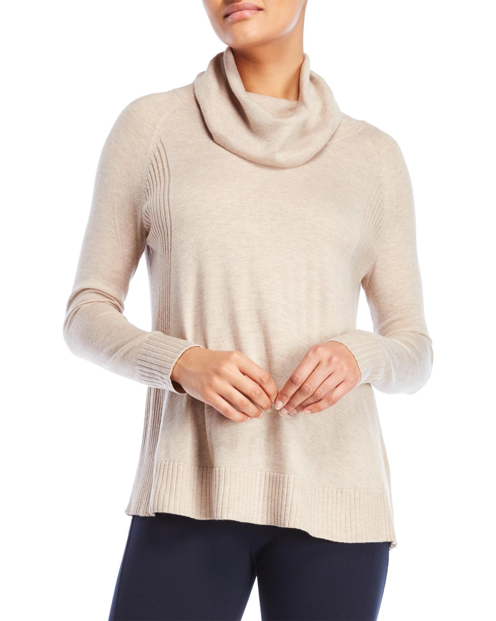 Premise studio Ribbed Cowl Neck Sweater in Natural | Lyst