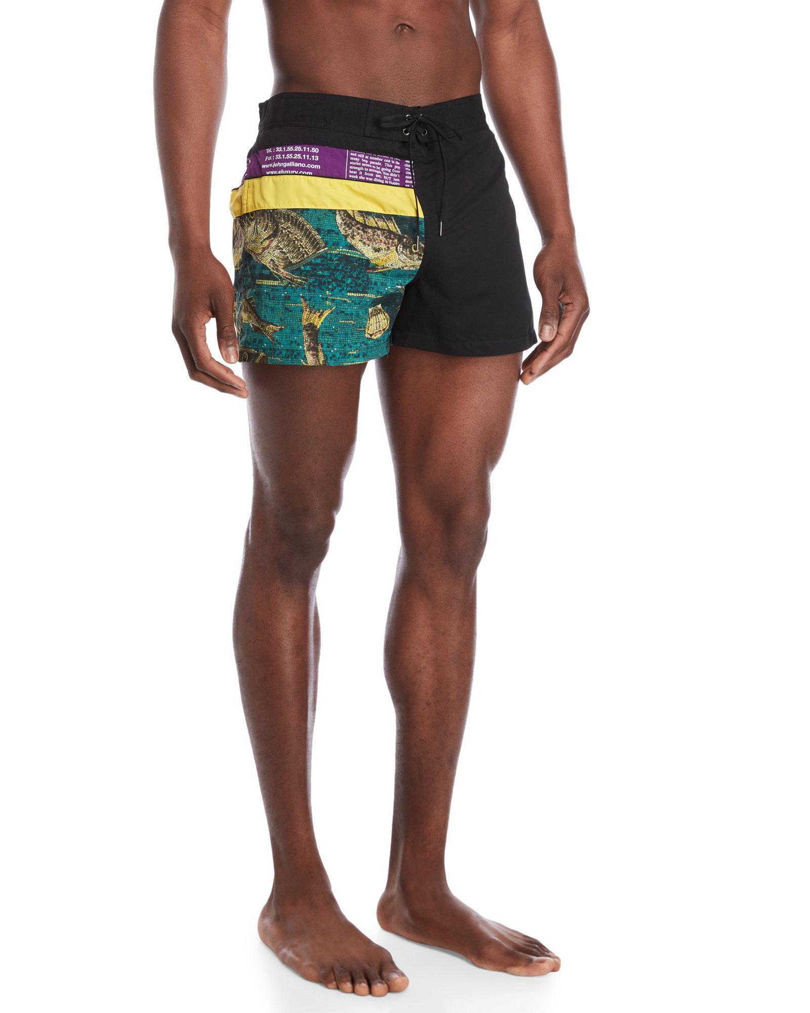 cb90f5593d John Galliano Mosaic Fish Print Swim Shorts in Black for Men - Lyst