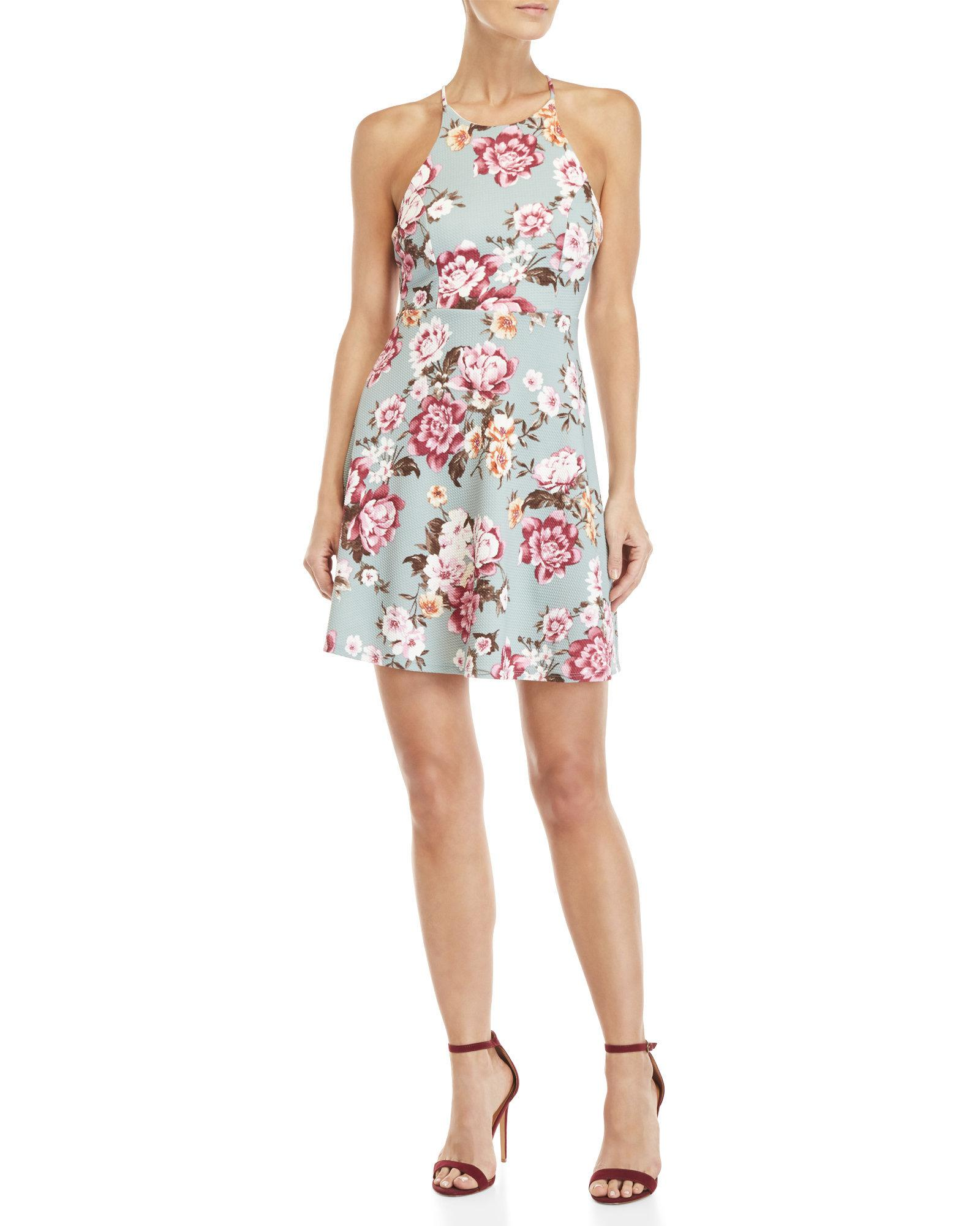 65719ceb8c Lyst - Soprano High Neck Floral Skater Dress