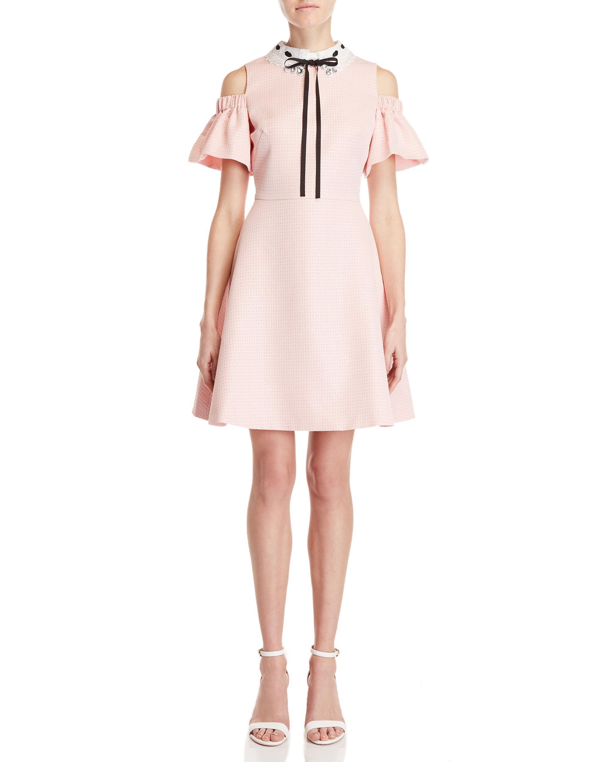 c06ea30d30 Lyst - Ted Baker Jacquard Cold Shoulder Dress in Pink