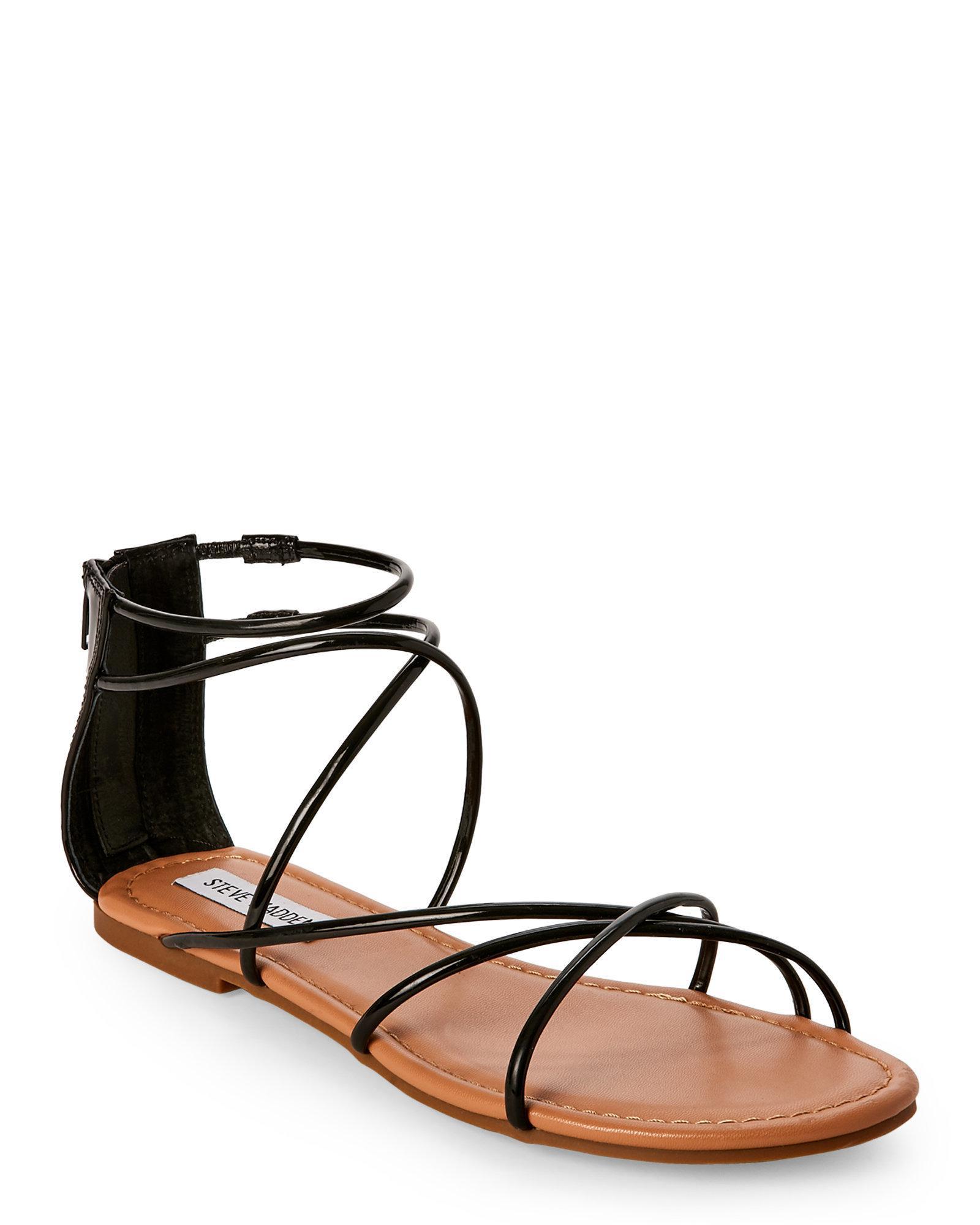 c15fd979a08 Steve Madden Black Sapphire Strappy Flat Sandals