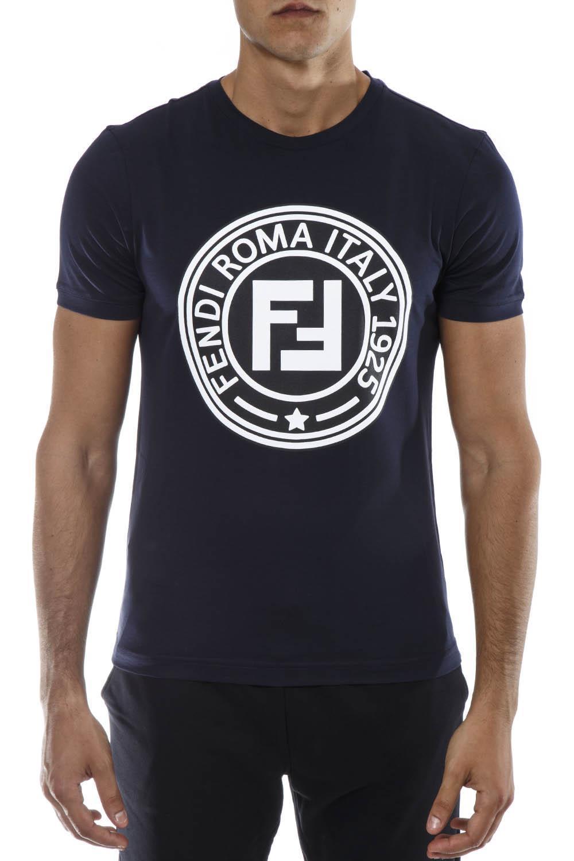 7bea86689065 Fendi Logo Print T-shirt in Blue for Men - Lyst