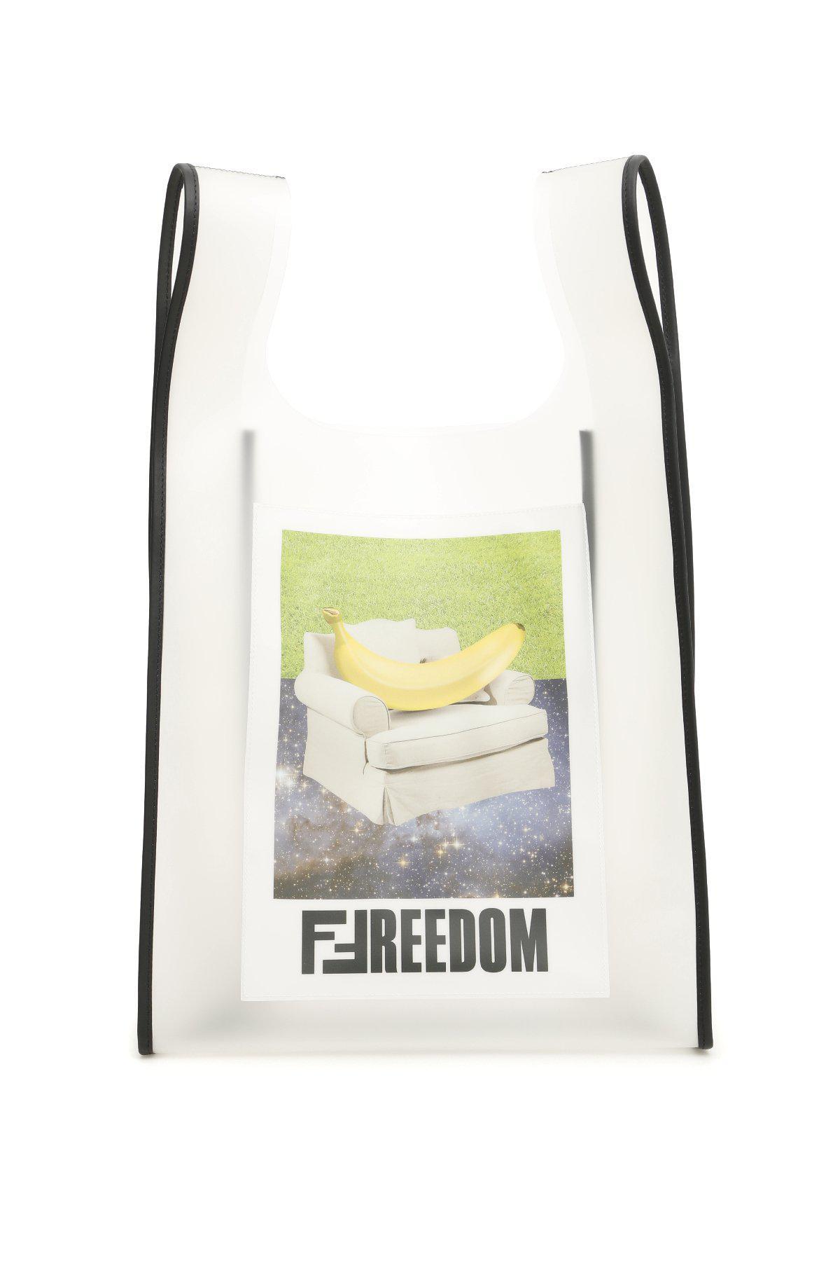 46b1e108a82e Lyst - Fendi Freedom Shopper Tote in White