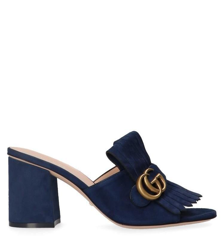 b5aea5628 Lyst - Gucci GG Suede Mules in Blue - Save 25%