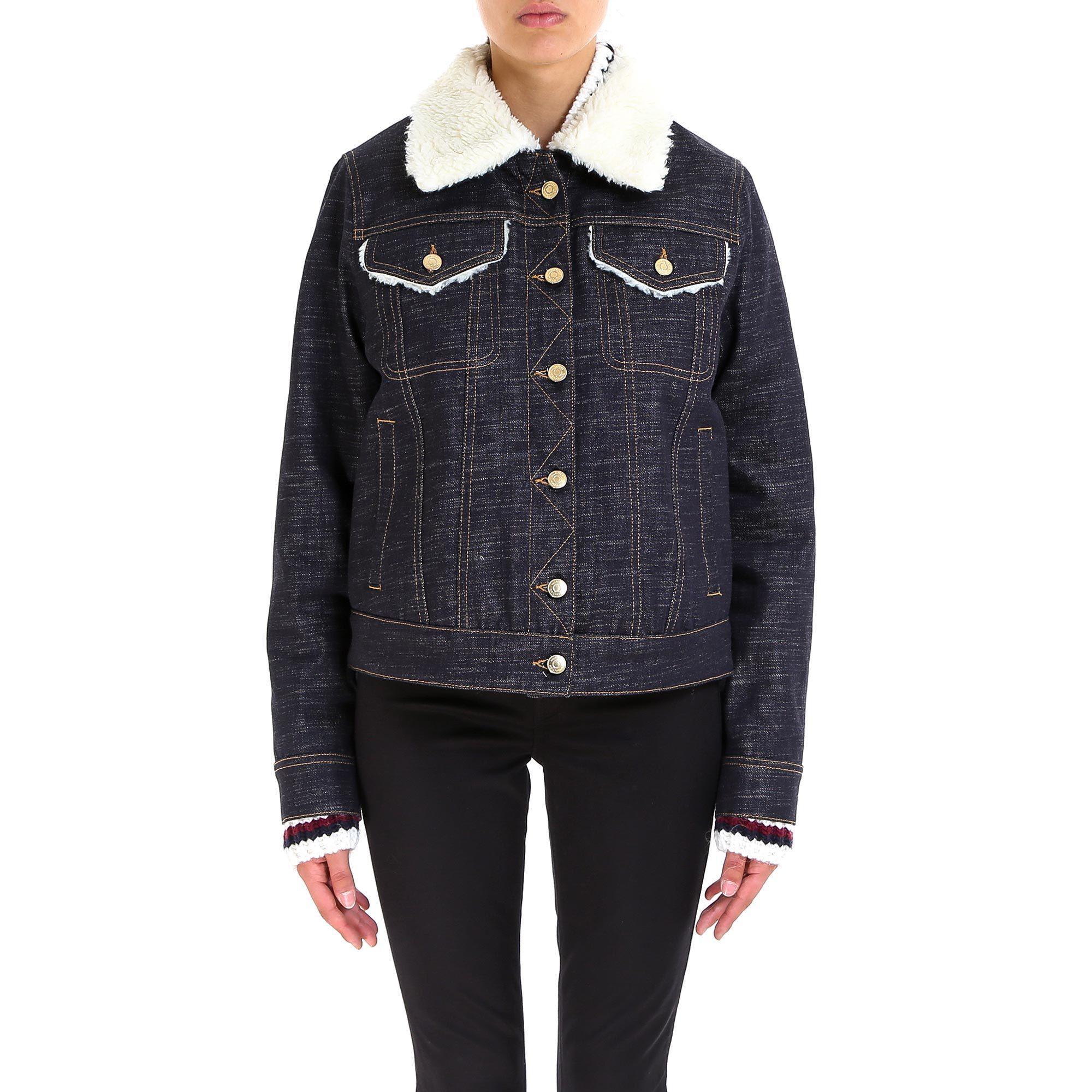 abef750cefa Lyst - Tommy Hilfiger Faux Fur Denim Jacket in Blue
