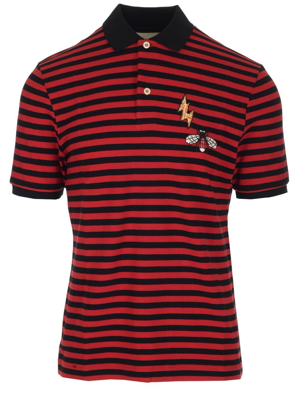 59406462 Lyst - Gucci Bee Patch Striped Polo Shirt in Red for Men