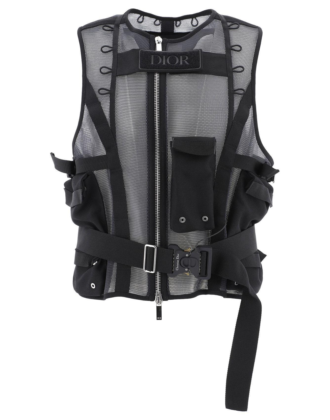 Dior Homme Technical Mesh Buckled Vest -Black
