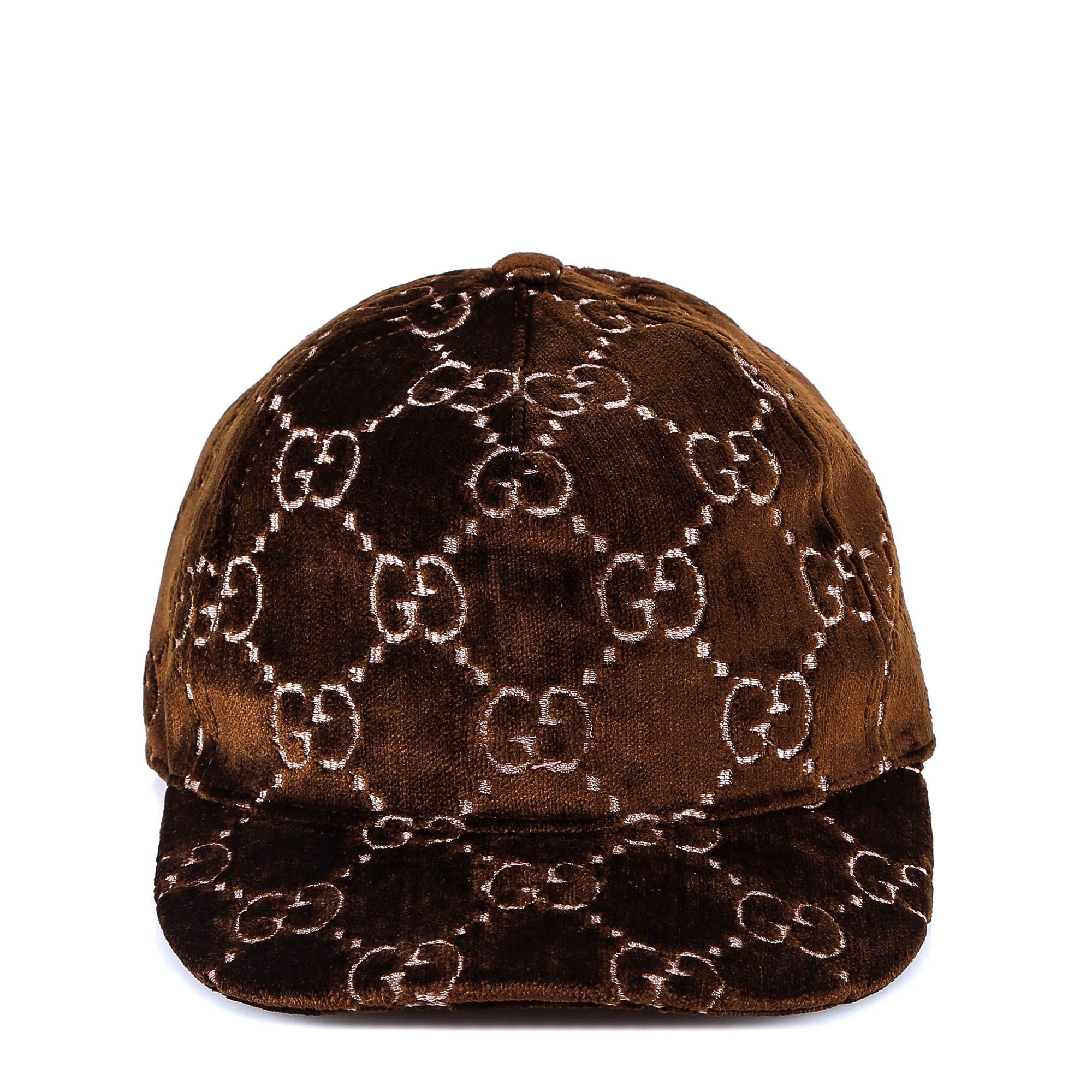0213755cc4c0e Lyst - Gucci Gg Embroidered Velvet Cap in Brown - Save 41%