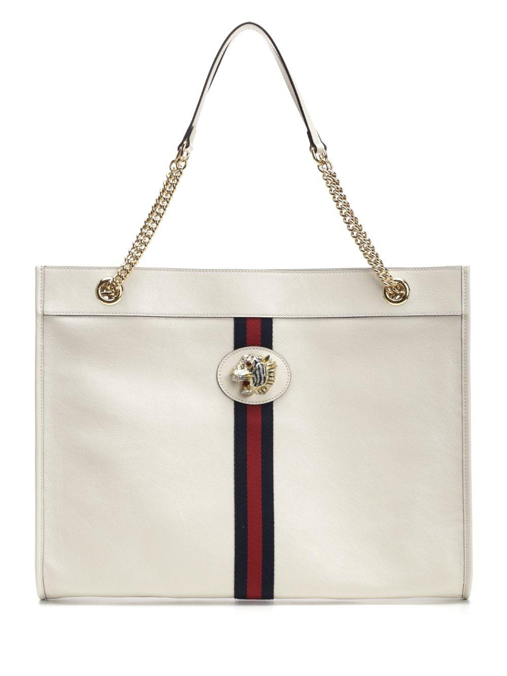 0da78ef54d45 Lyst - Gucci Rajah Large Tote Bag in White
