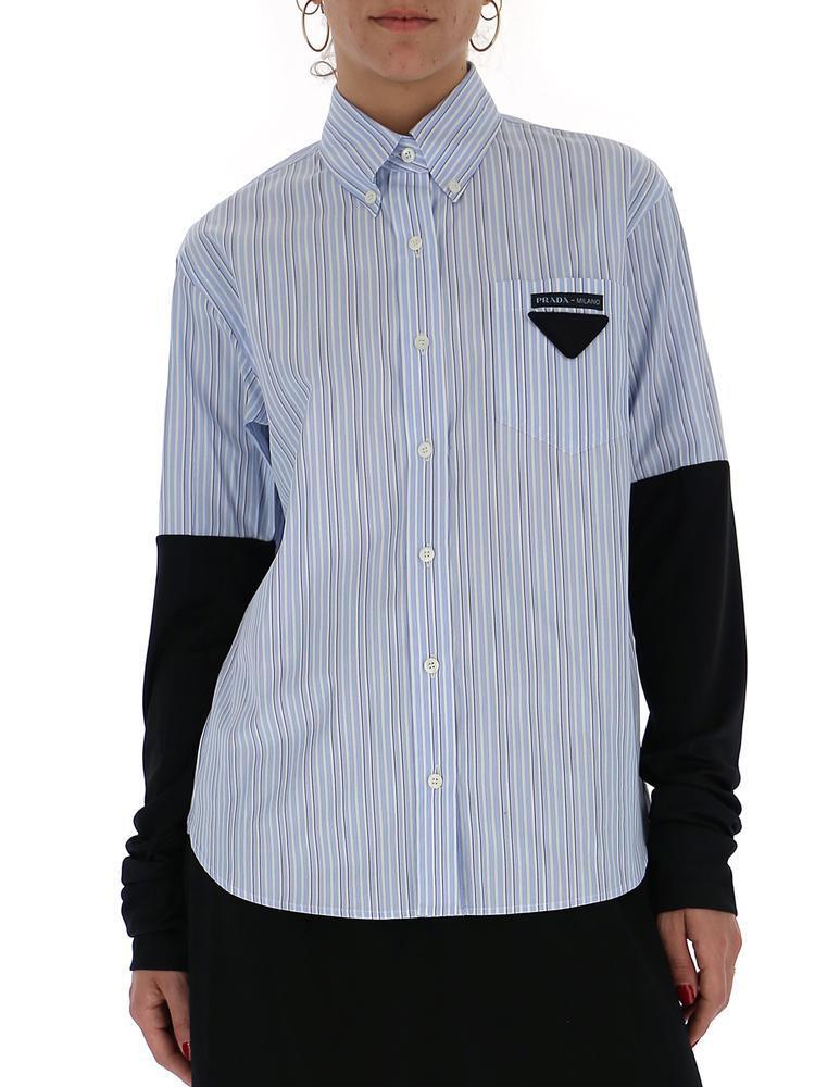d520fb29b8752 Prada Striped Hybrid Collared Shirt in Blue - Lyst