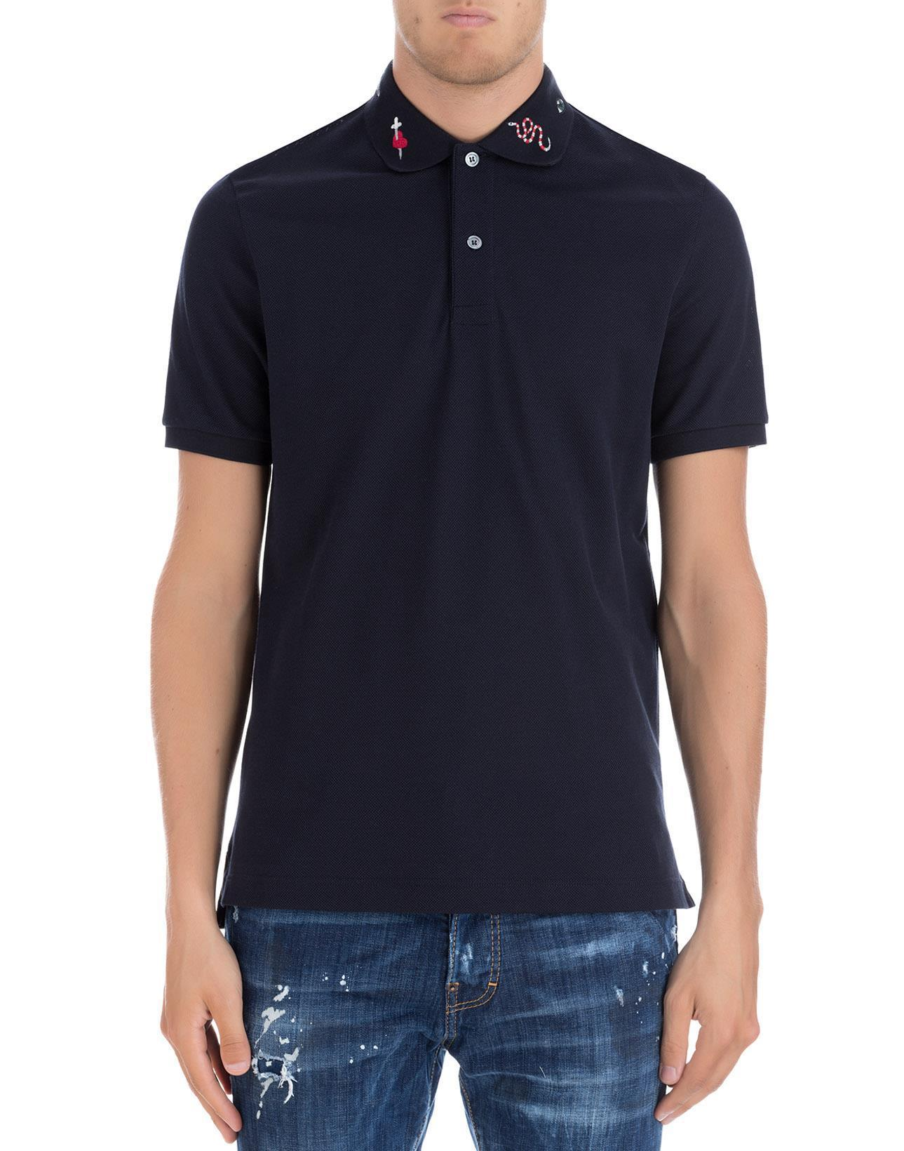 63b82f62b Gucci Embroidered Collar Polo Shirt in Blue for Men - Lyst