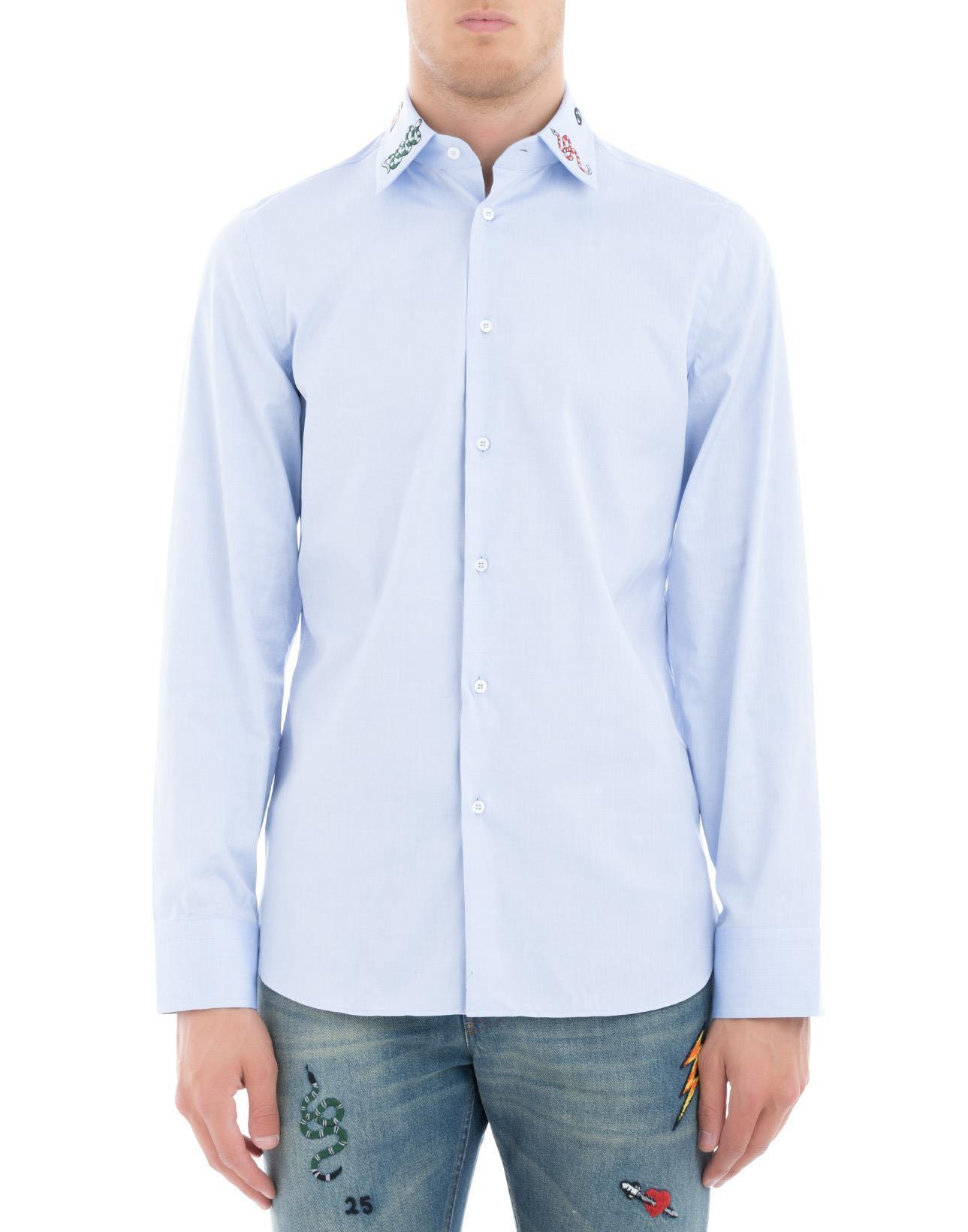 ae4118942 Gucci Embroidered Collar Shirt in Blue for Men - Lyst
