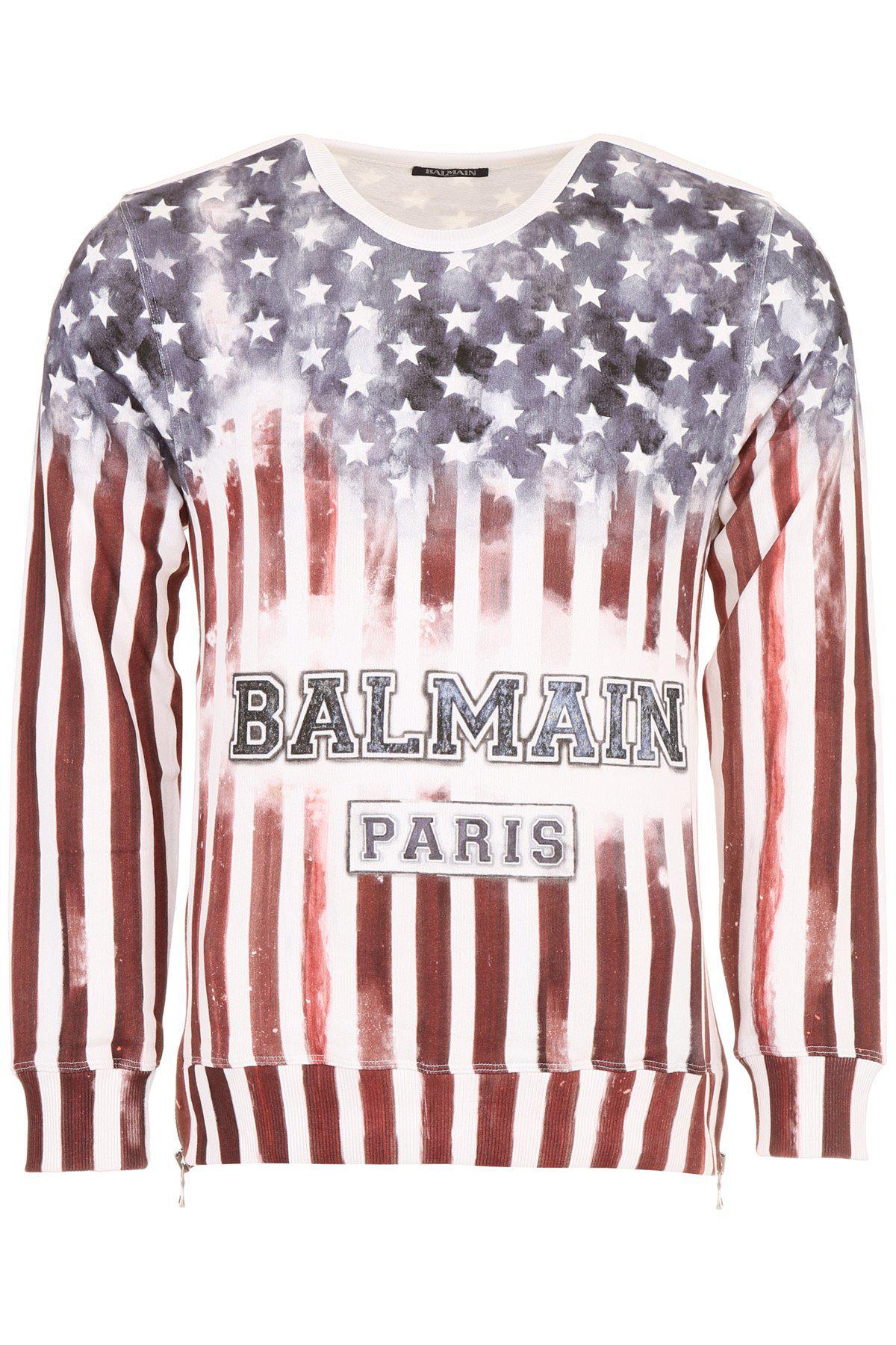 6be0b52c Lyst - Balmain Usa Flag Logo Print Sweater in Red for Men